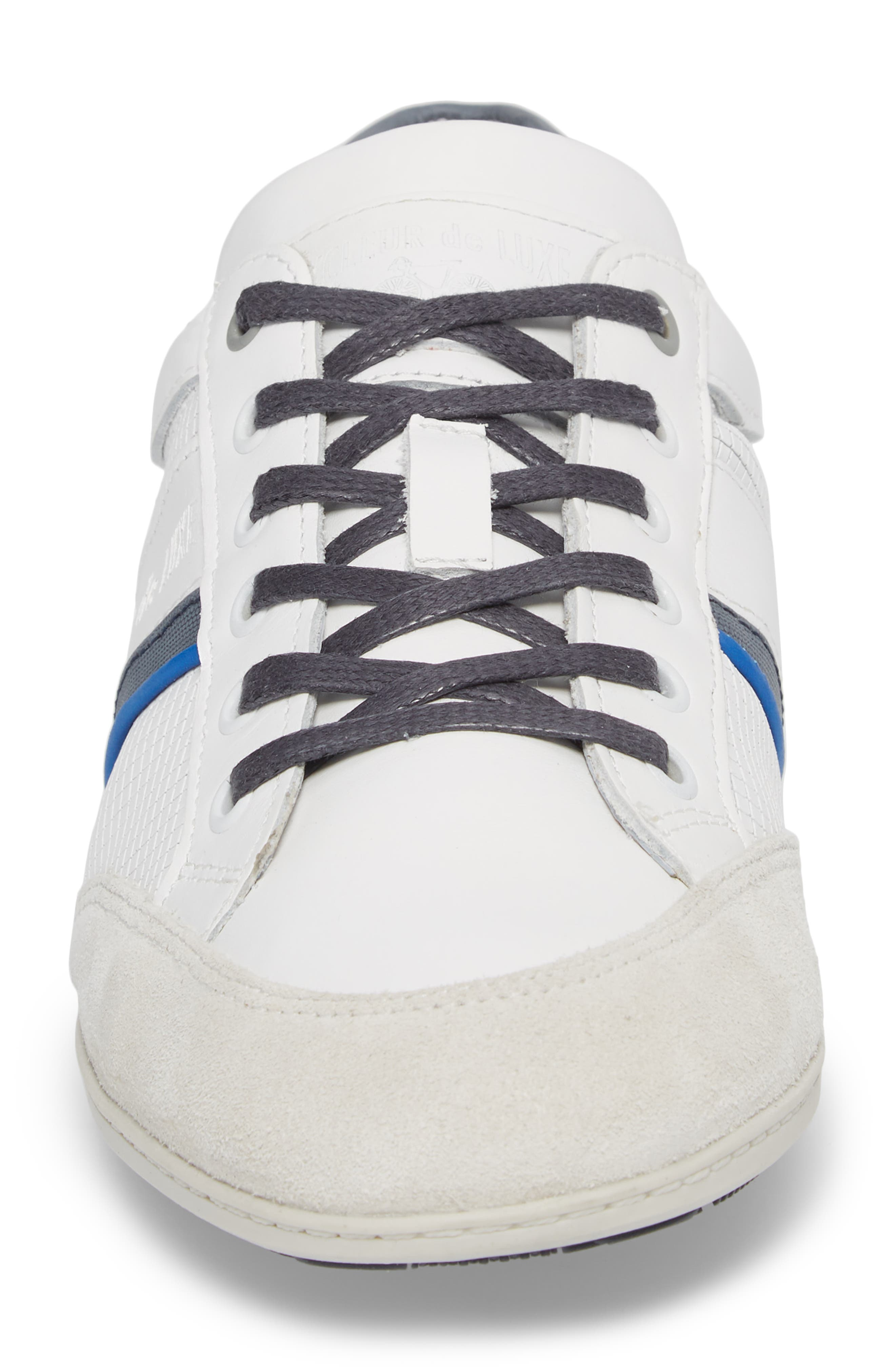 Bahamas Low Top Sneaker,                             Alternate thumbnail 4, color,                             Off White/ Navy Leather