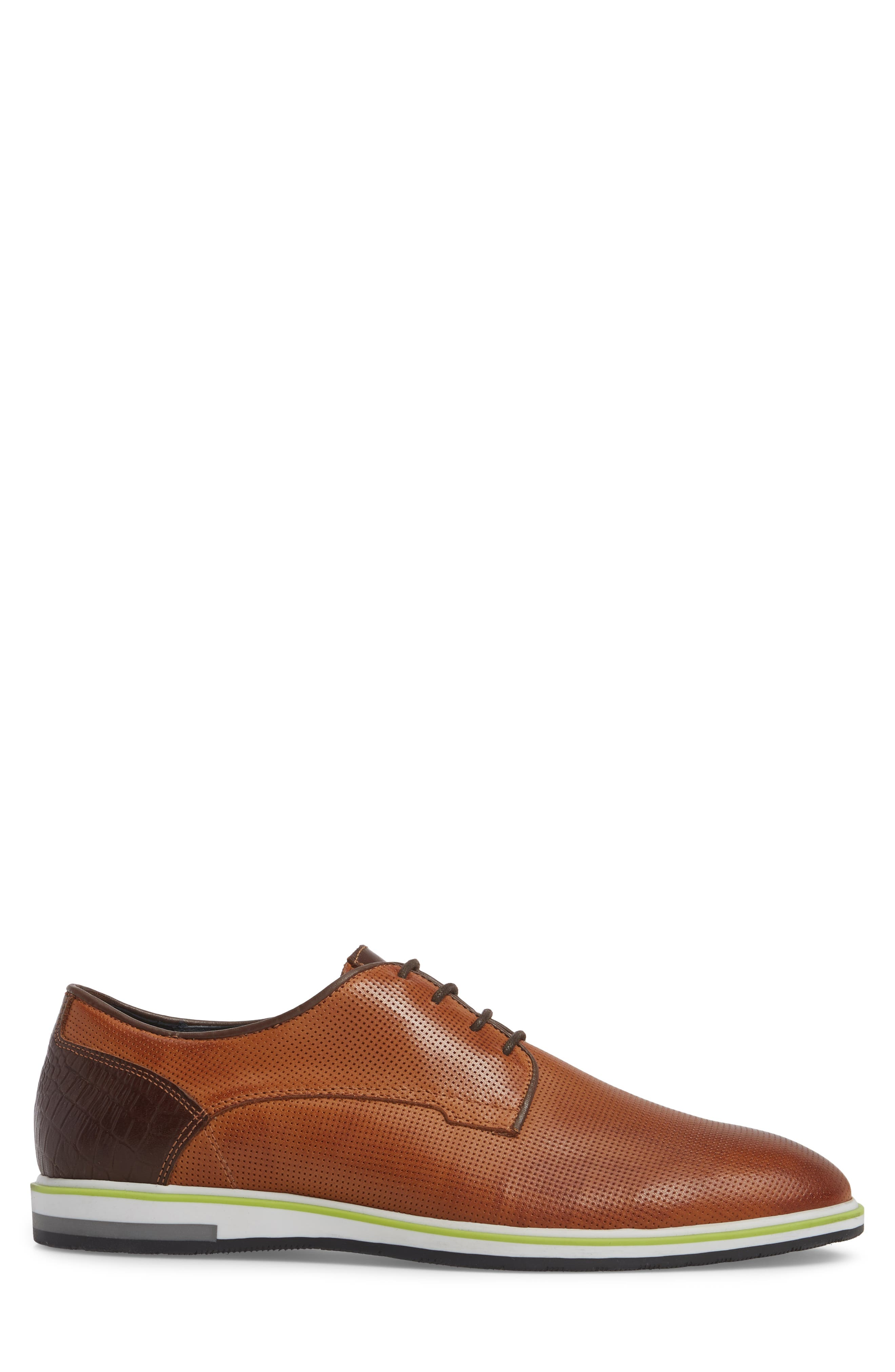 Plus Casual Perforated Derby,                             Alternate thumbnail 3, color,                             Cognac/ Dark Cognac Leather