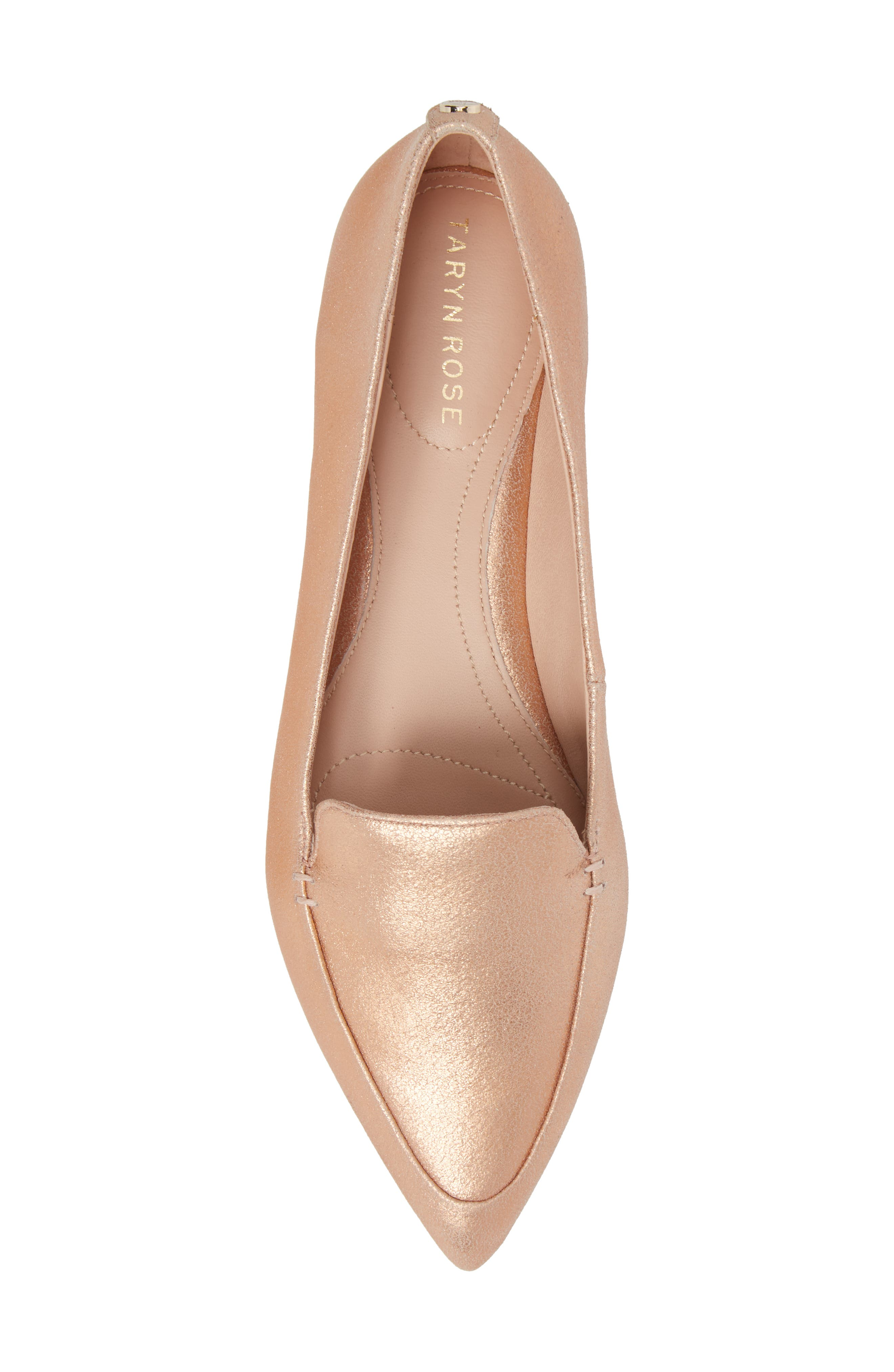 Faye Pointy Toe Loafer,                             Alternate thumbnail 5, color,                             Rose Gold Metallic Leather