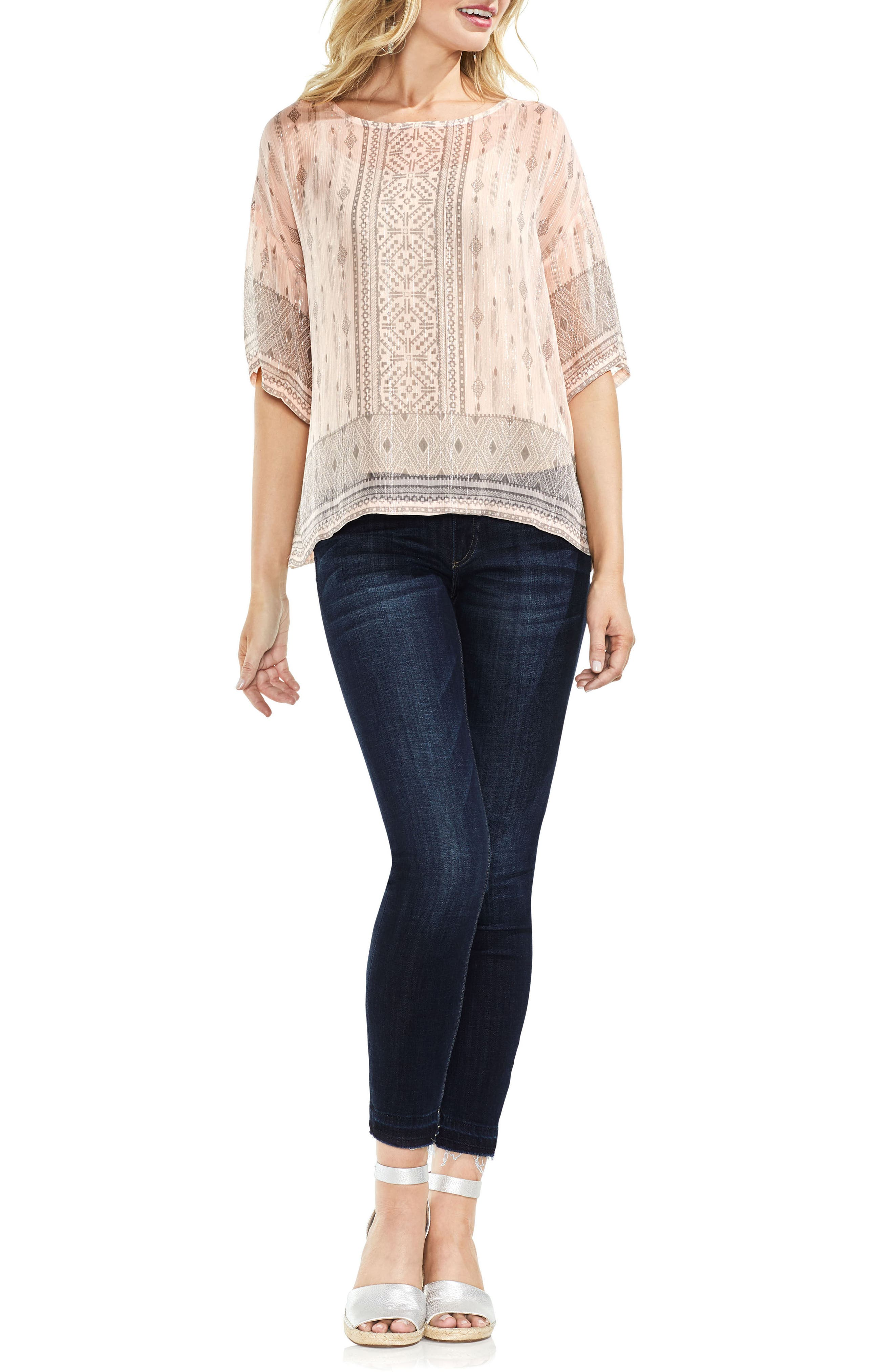 Delicate Diamond Geo Sheer Top,                             Alternate thumbnail 3, color,                             French Peach