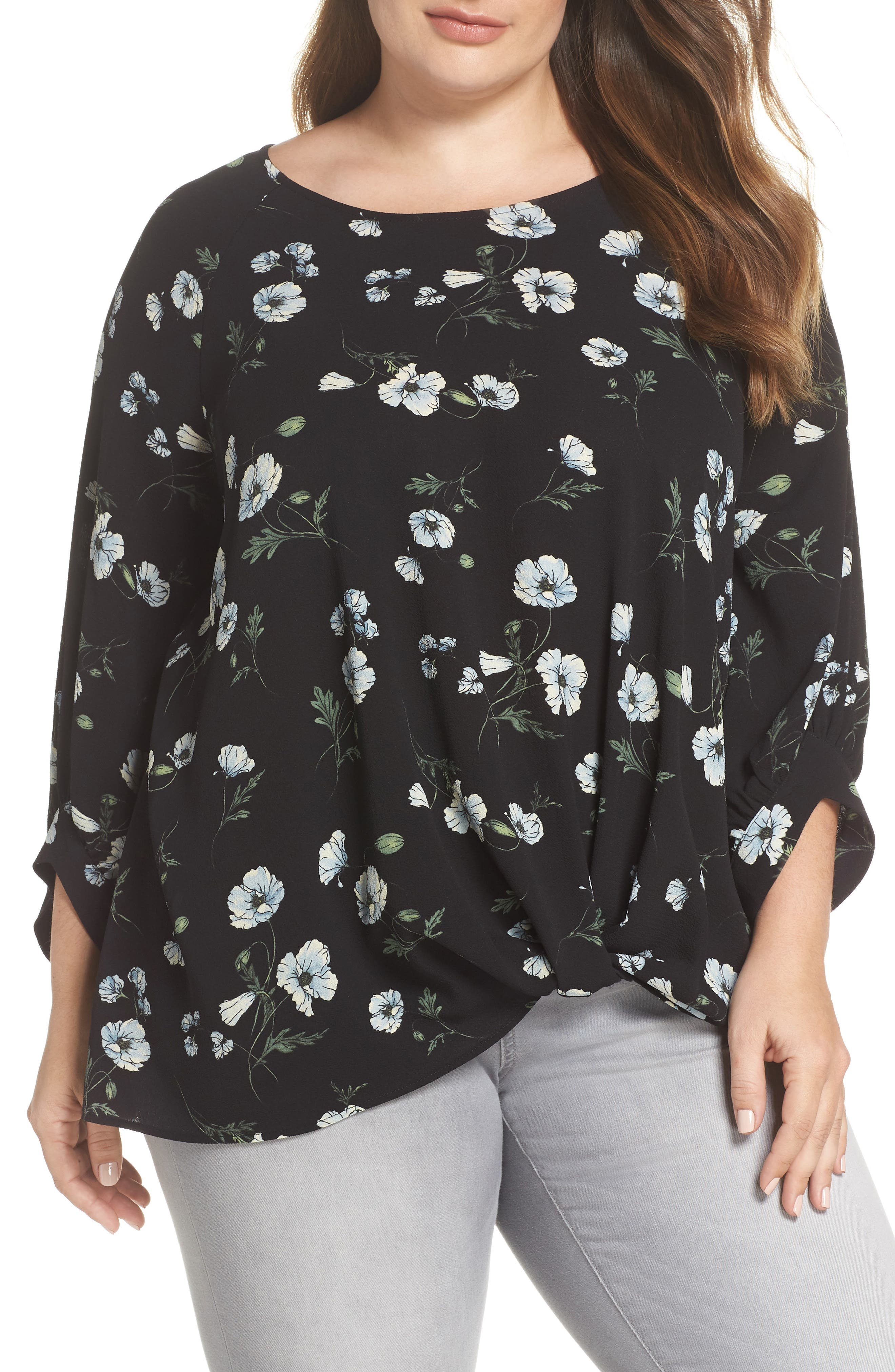 x Living in Yellow Maggie Twist Hem Top,                             Main thumbnail 1, color,                             Black Floral