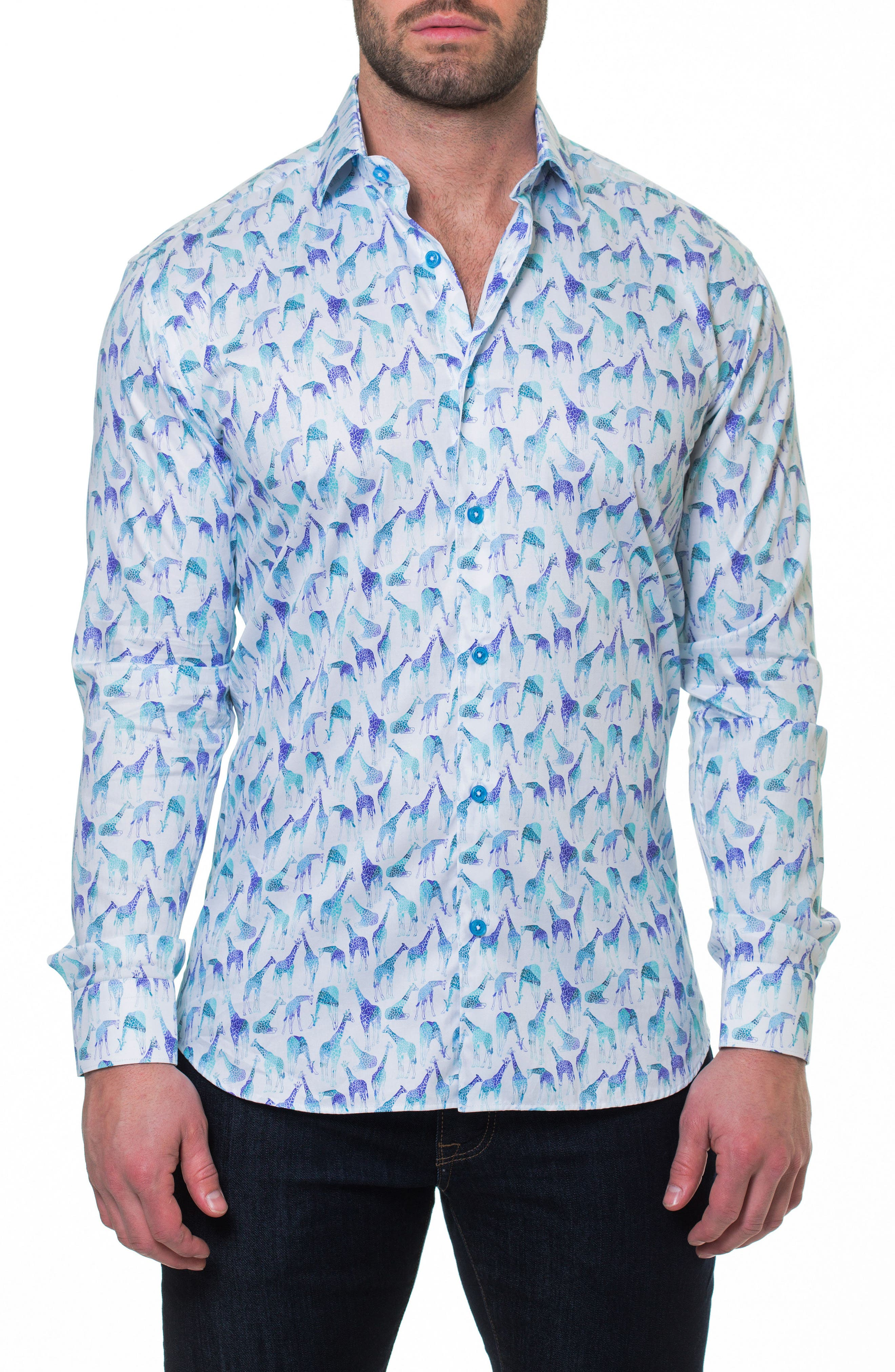 Luxor Giraffe Sport Shirt,                             Main thumbnail 1, color,                             Blue