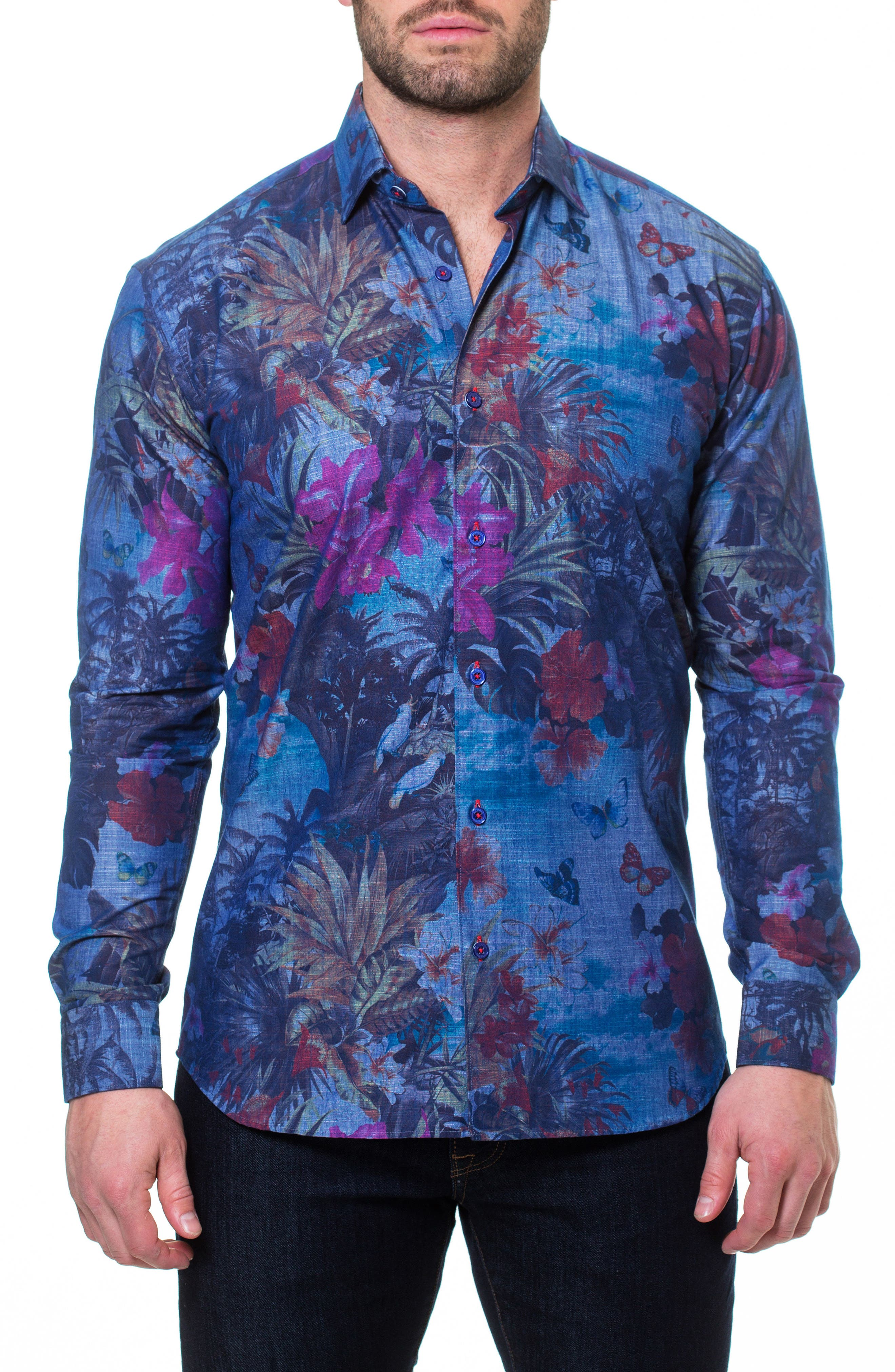 Wall Street Paradise Sport Shirt,                             Main thumbnail 1, color,                             Blue