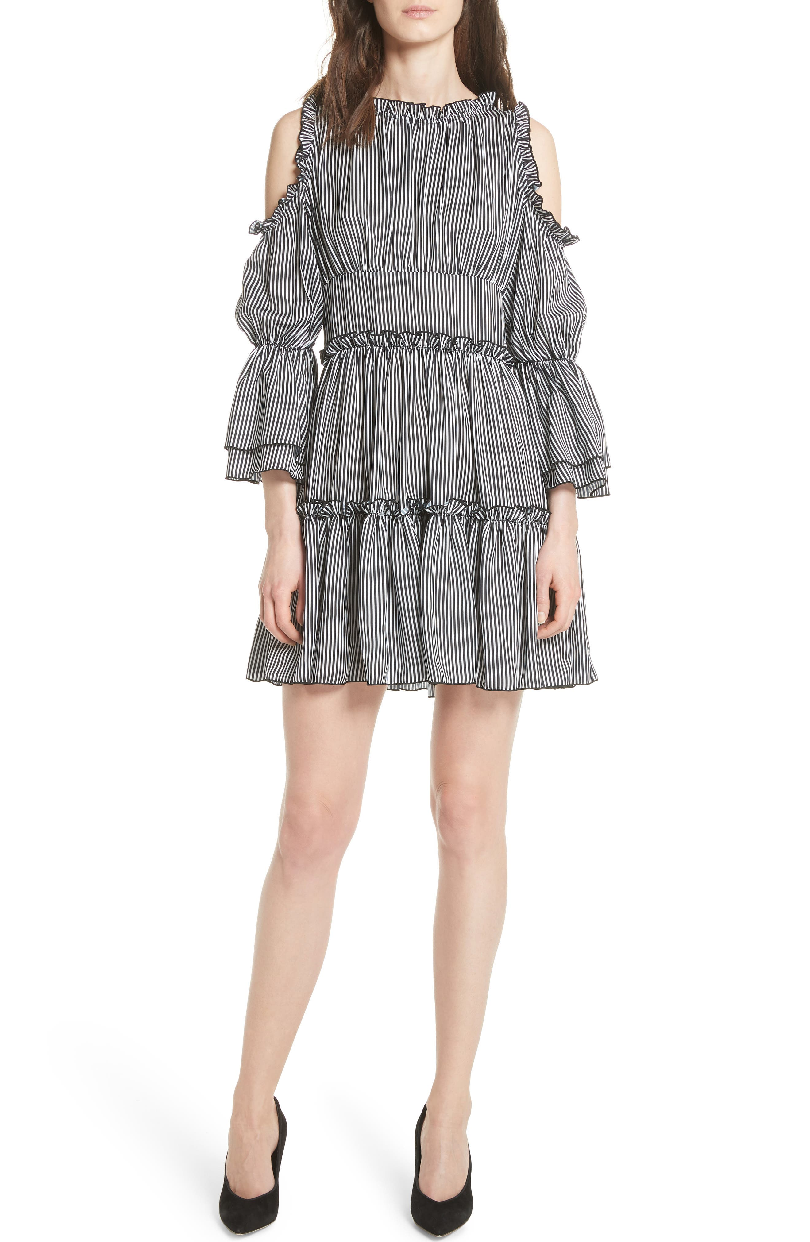 Radise Cold Shoulder Ruffled Minidress,                             Main thumbnail 1, color,                             Stripe