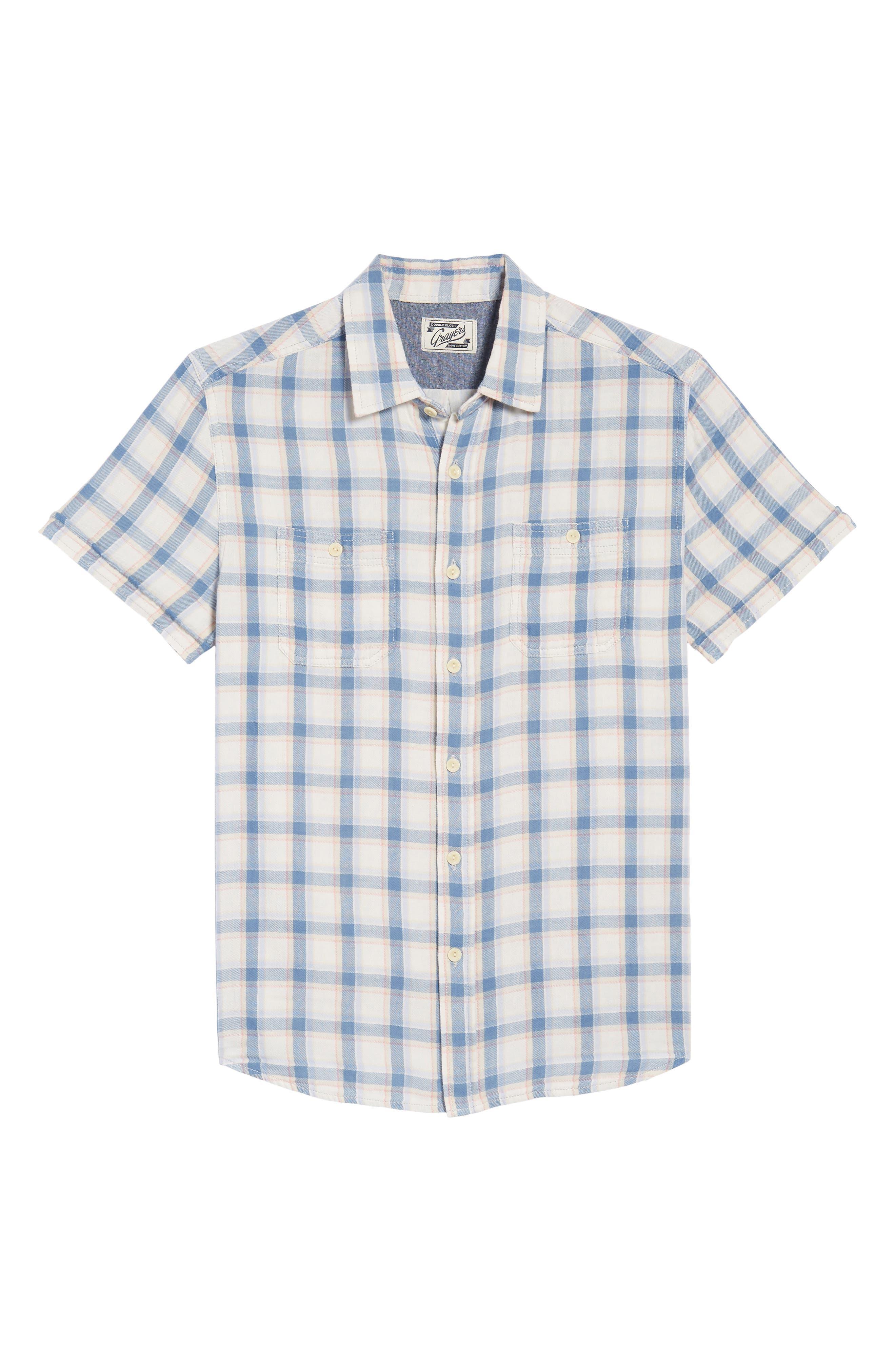 Larson Short Sleeve Sport Shirt,                             Alternate thumbnail 6, color,                             Cream Blue Plaid