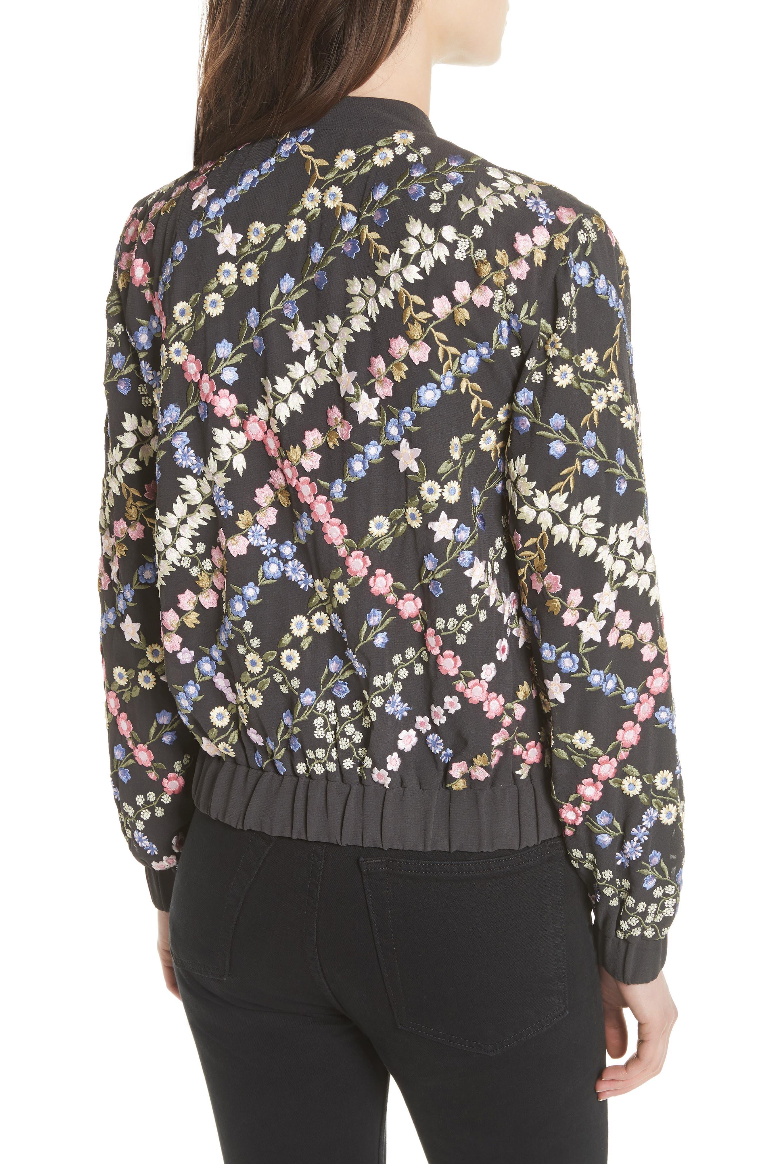 Crosshatch Embroidered Bomber Jacket,                             Alternate thumbnail 2, color,                             Graphite / Lavender