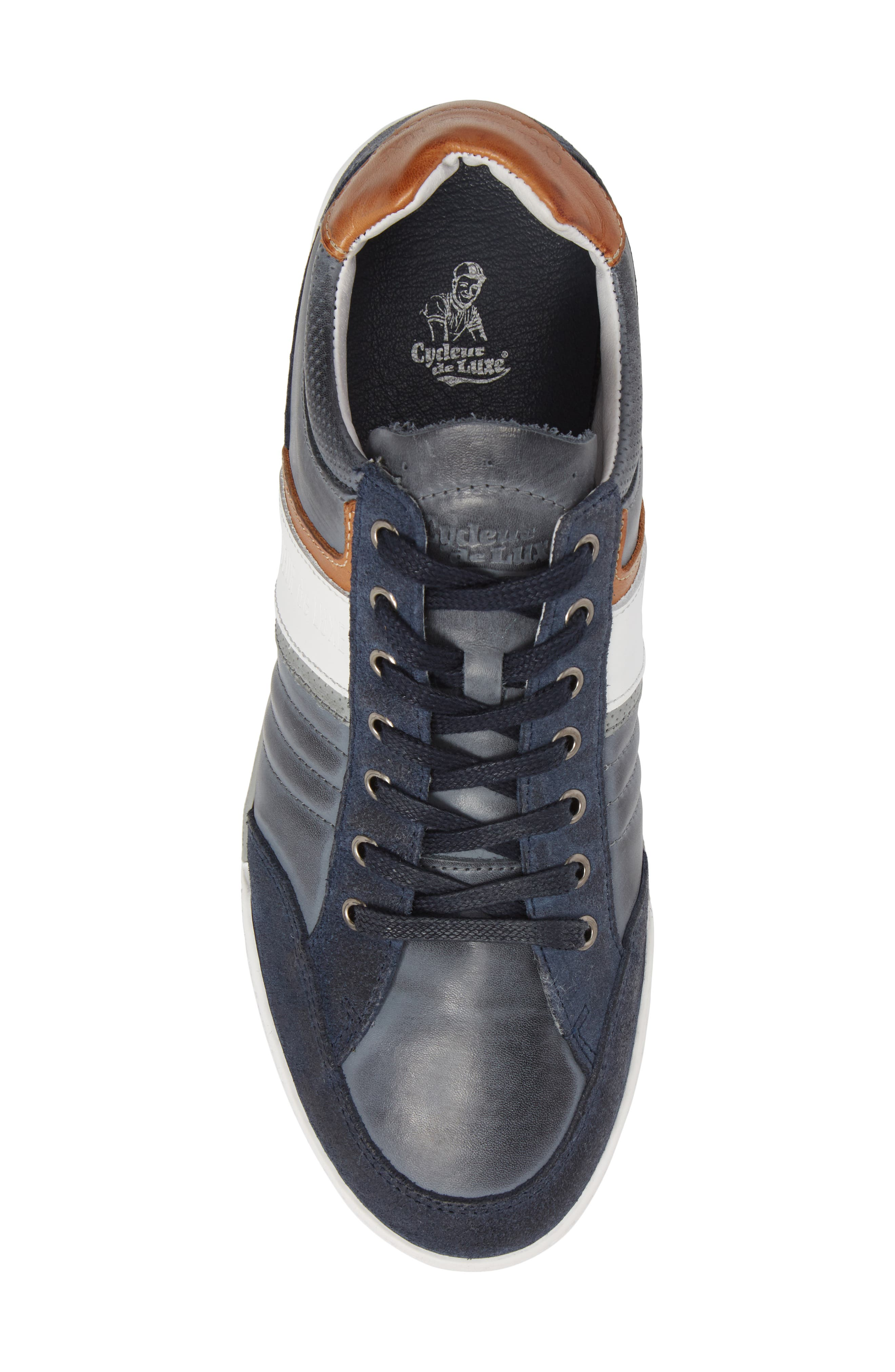 Solo Low Top Sneaker,                             Alternate thumbnail 5, color,                             Denim/ White/ Cognac Leather