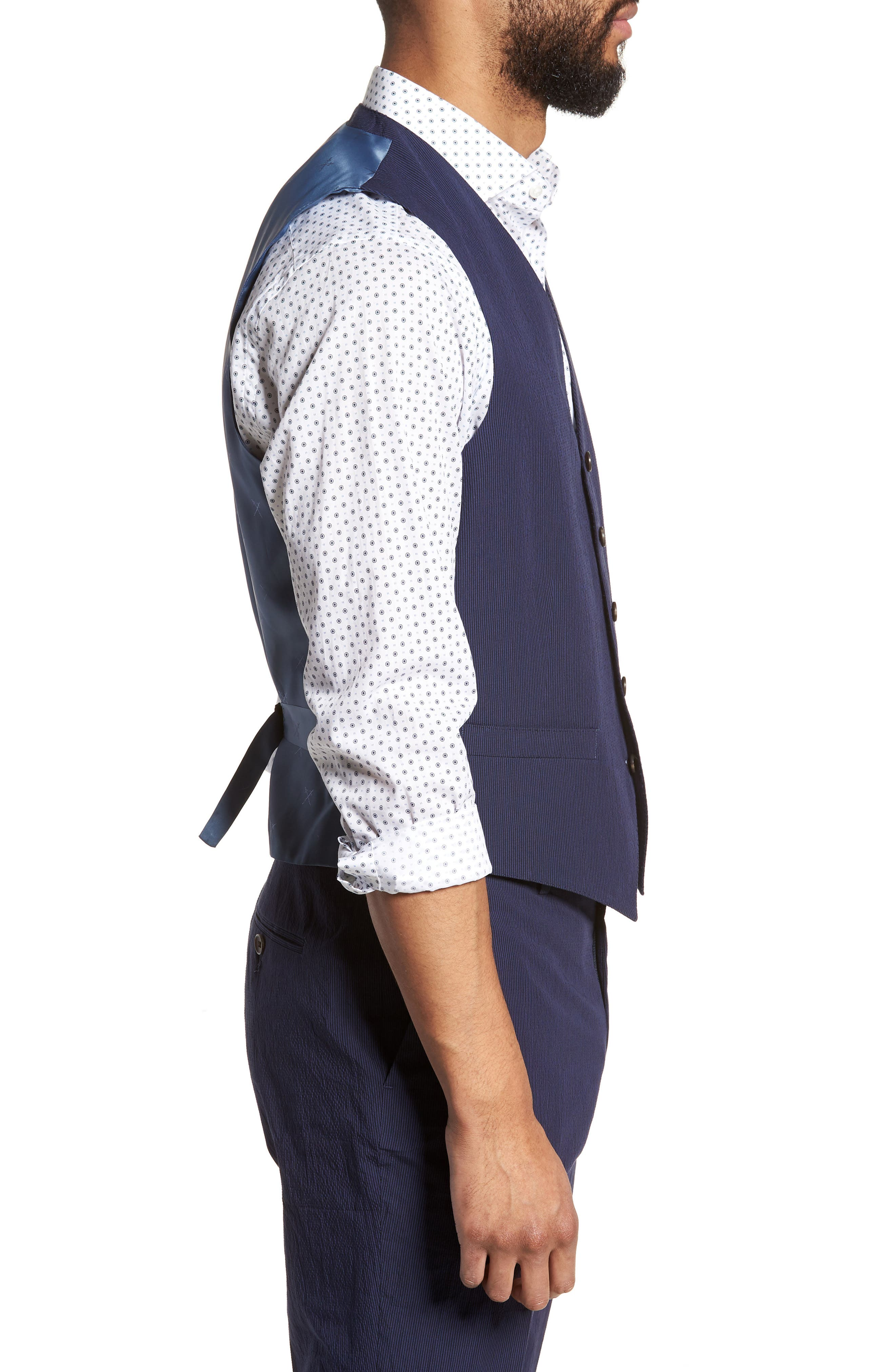 Alfa Trim Fit Seersucker Vest,                             Alternate thumbnail 3, color,                             Navy Stripe