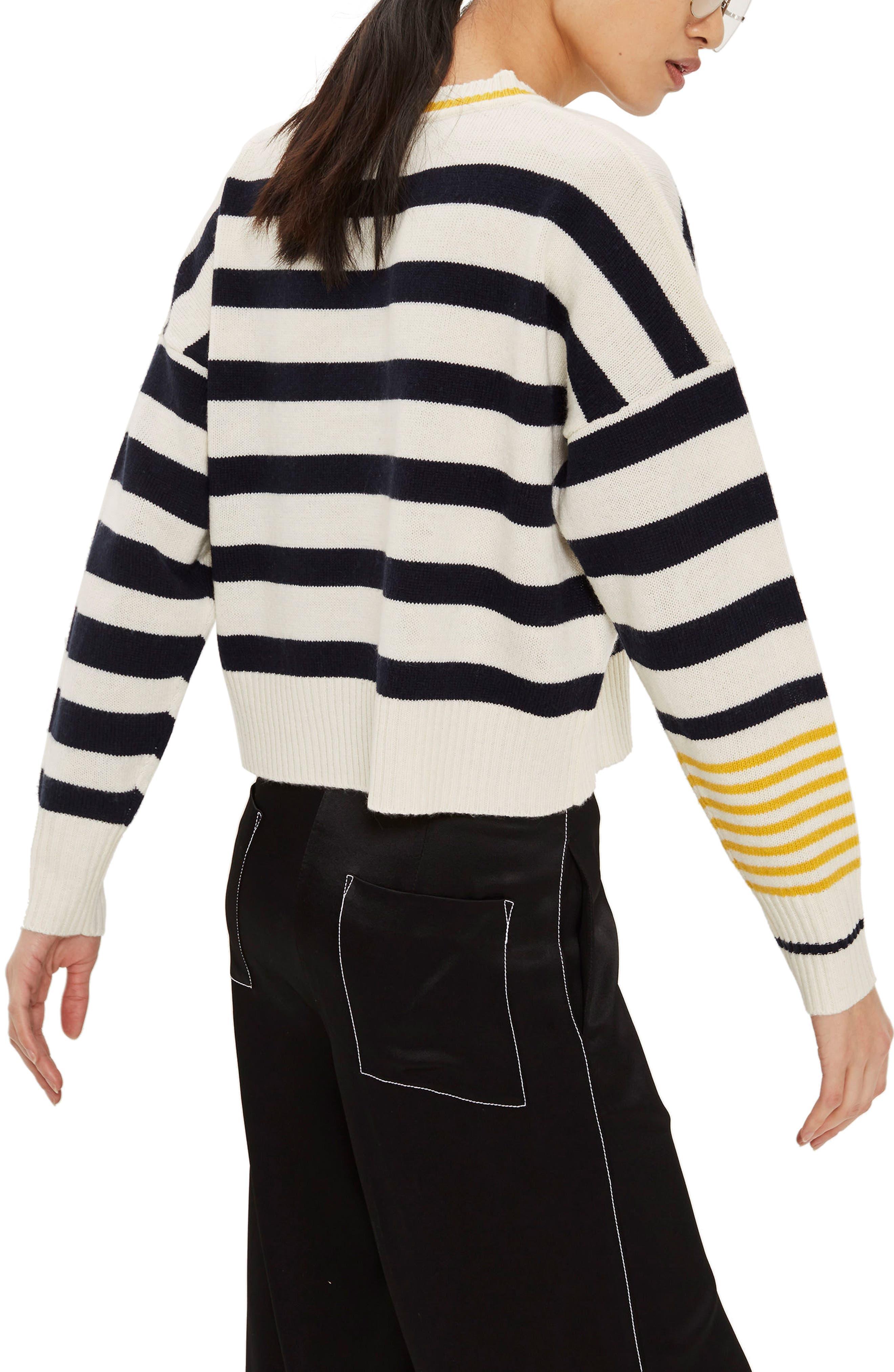 Slouchy Stripe Sweater,                             Alternate thumbnail 2, color,                             Navy Blue Multi
