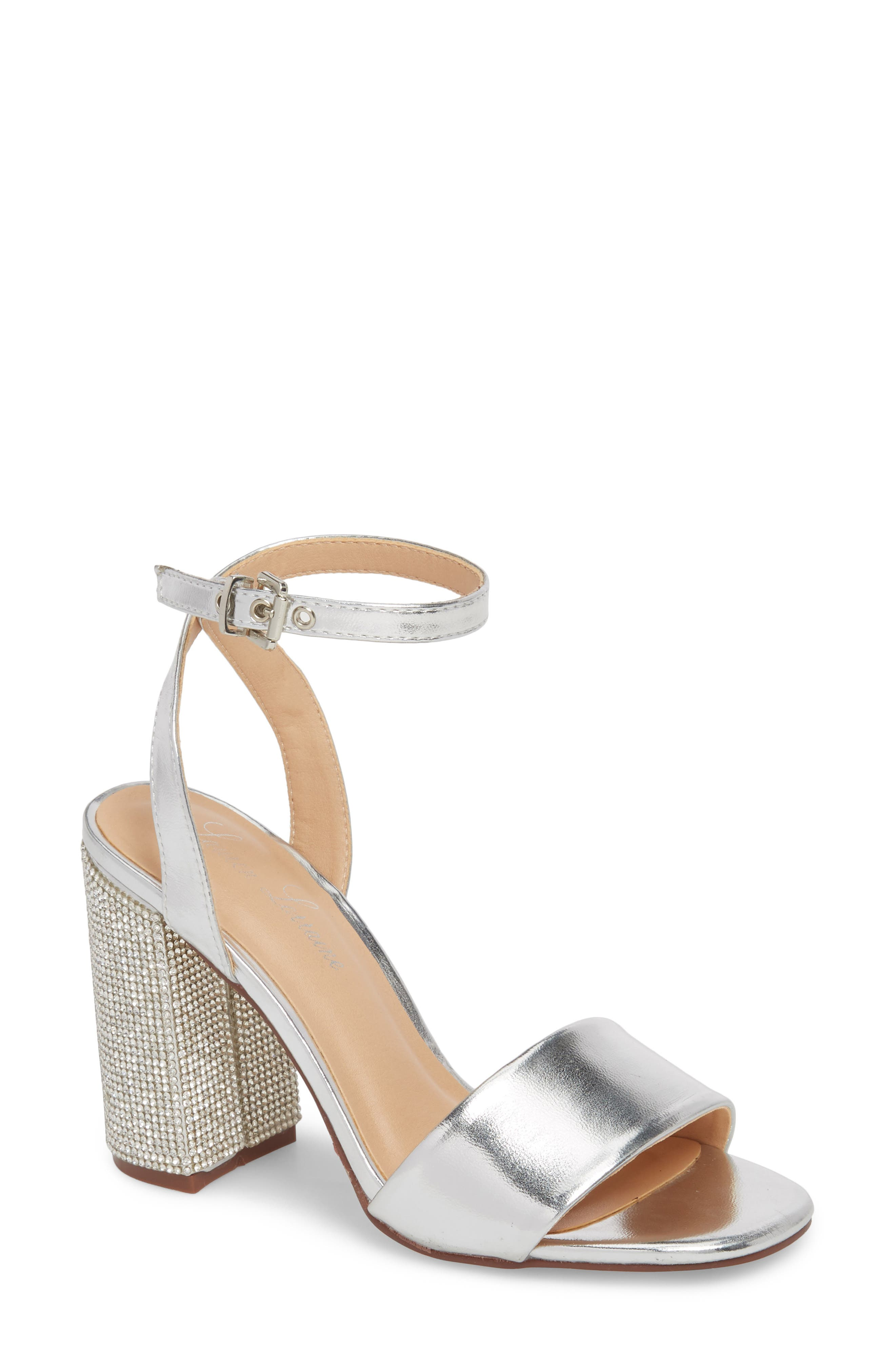Julia Sandal,                         Main,                         color, Silver Faux Leather