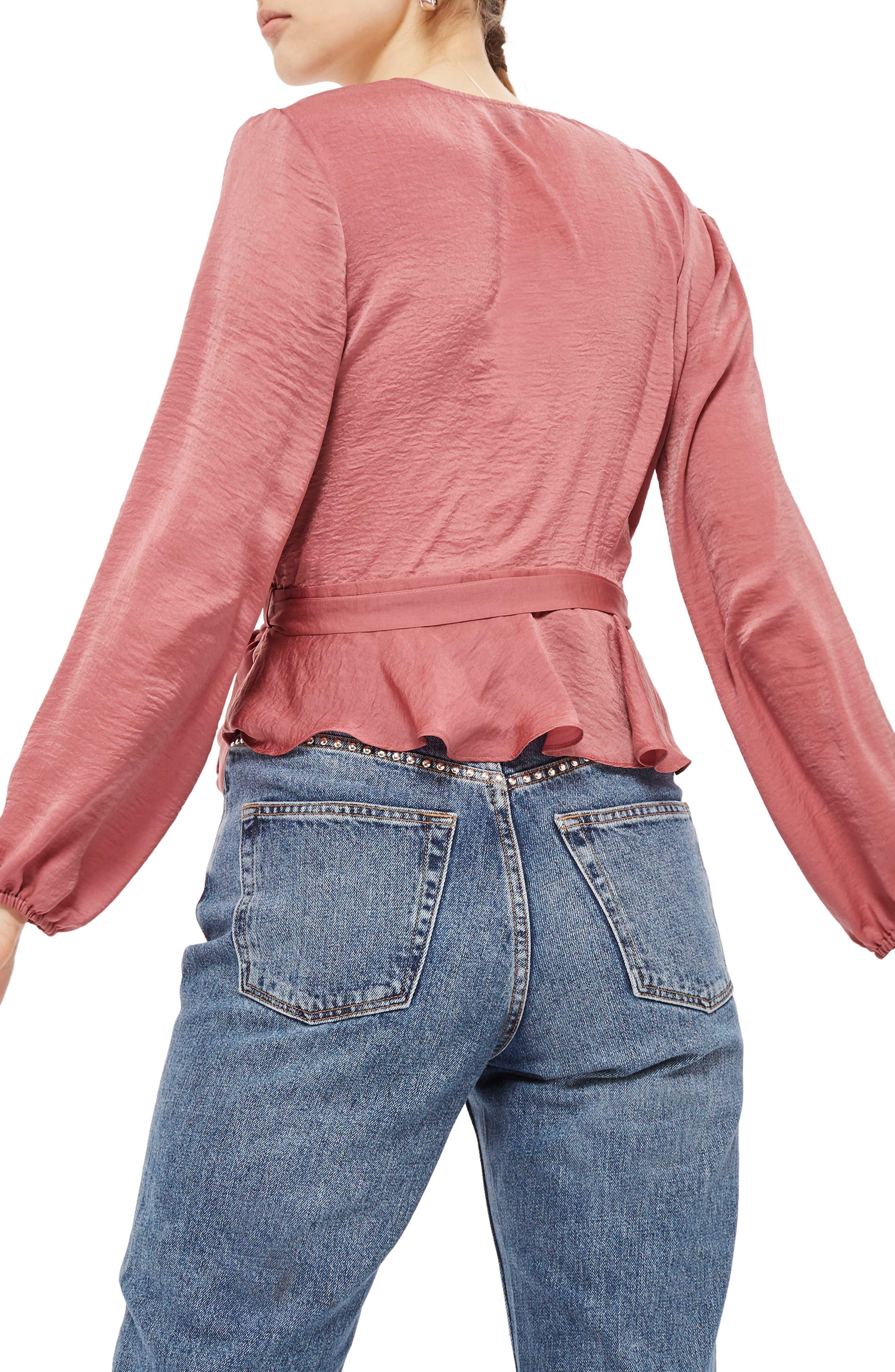 Satin Blouson Sleeve Wrap Blouse,                             Alternate thumbnail 3, color,                             Blush
