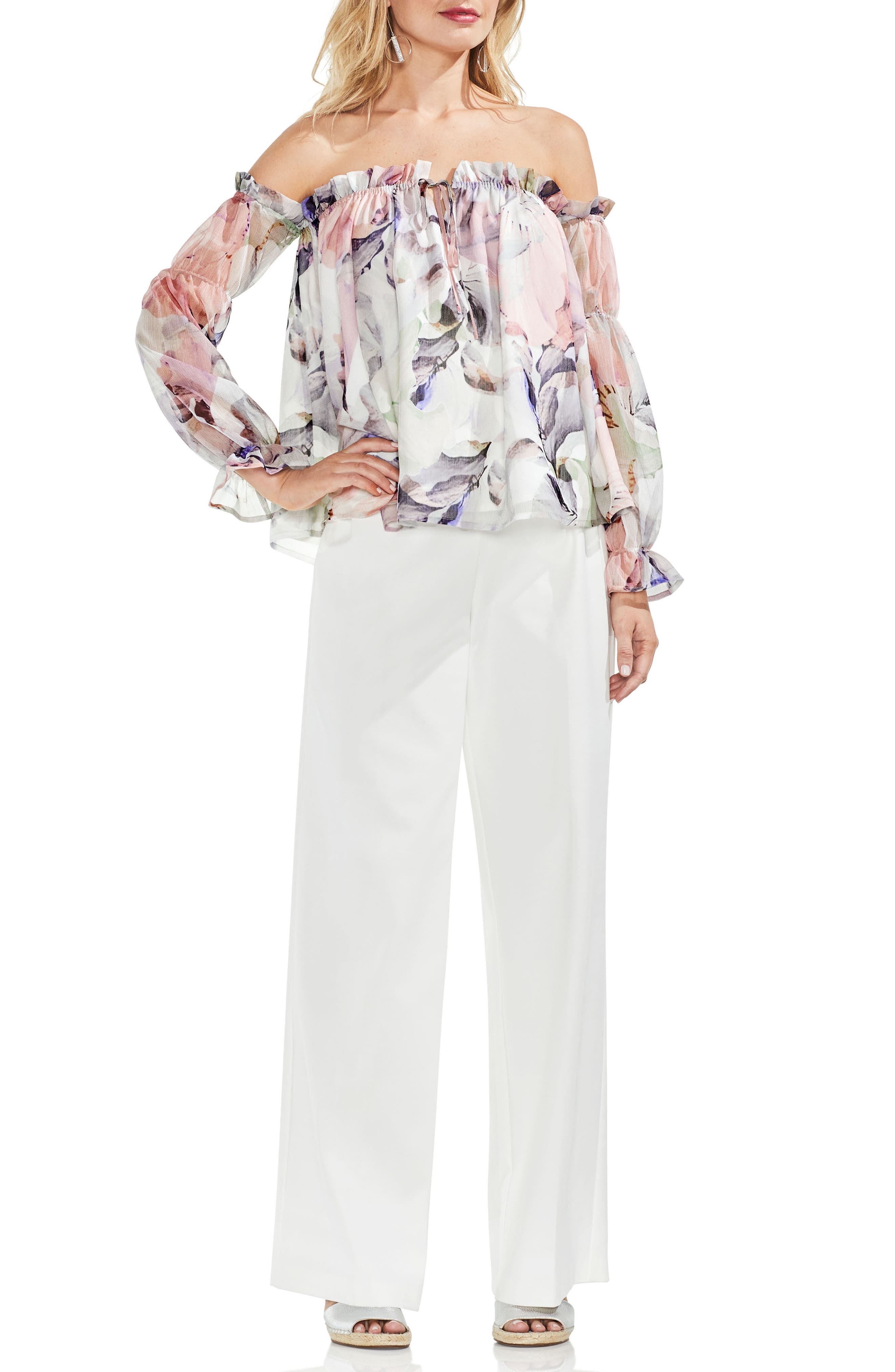 Off the Shoulder Diffused Floral Peasant Blouse,                             Alternate thumbnail 3, color,                             New Ivory