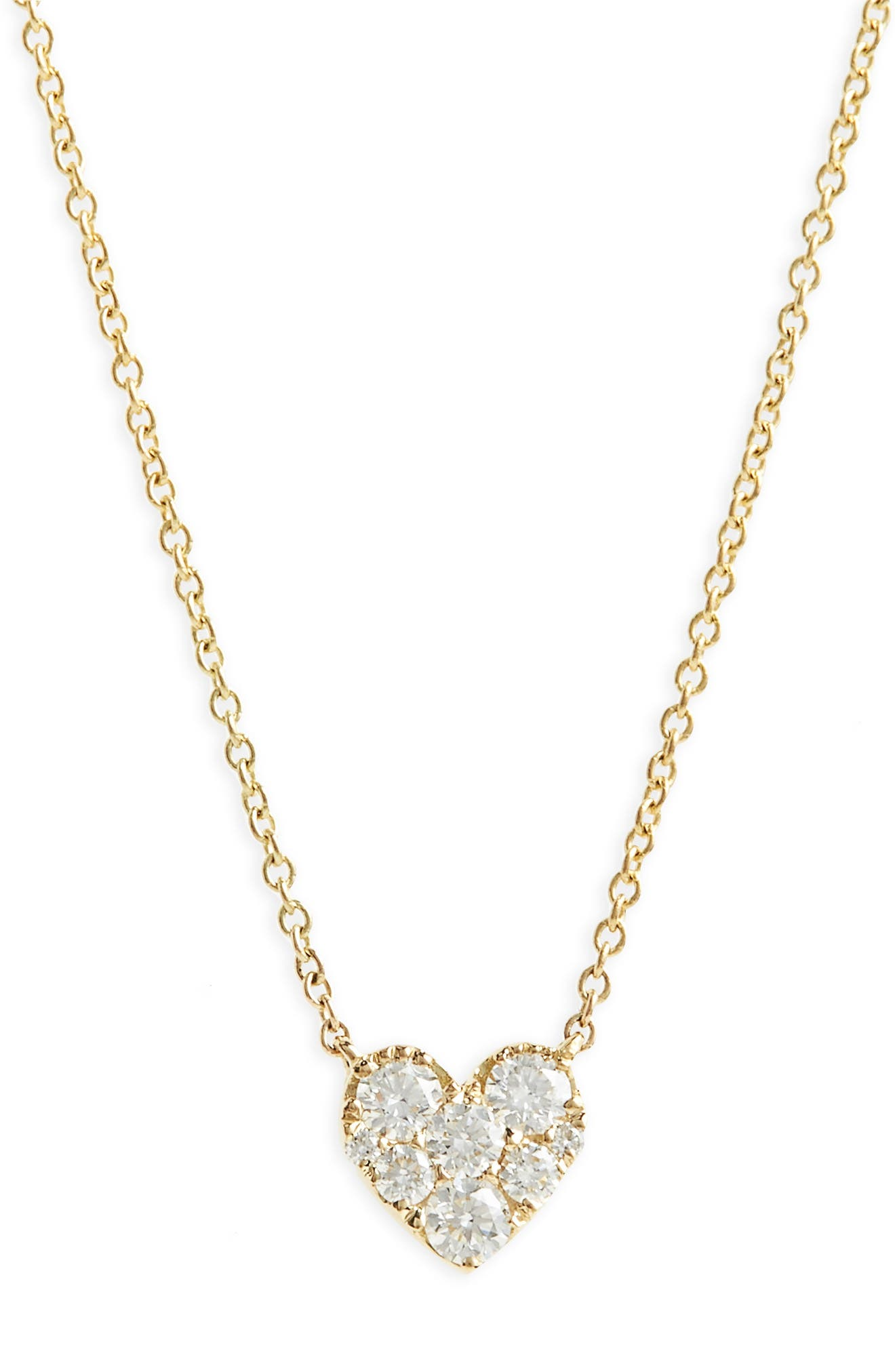 Heart Diamond Pendant Necklace,                             Main thumbnail 1, color,                             Yellow Gold