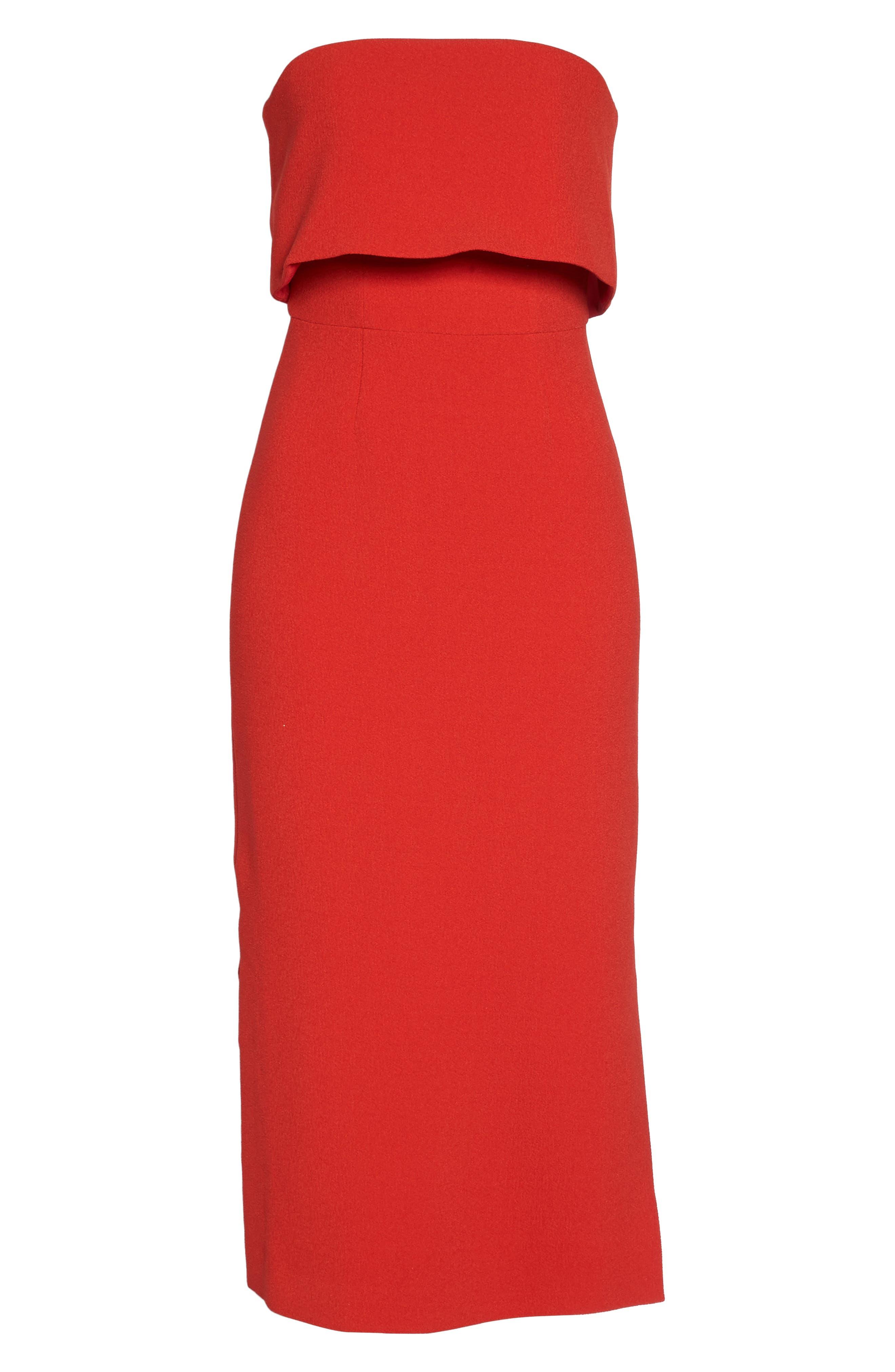 Entice Strapless Midi Dress,                             Alternate thumbnail 6, color,                             Red