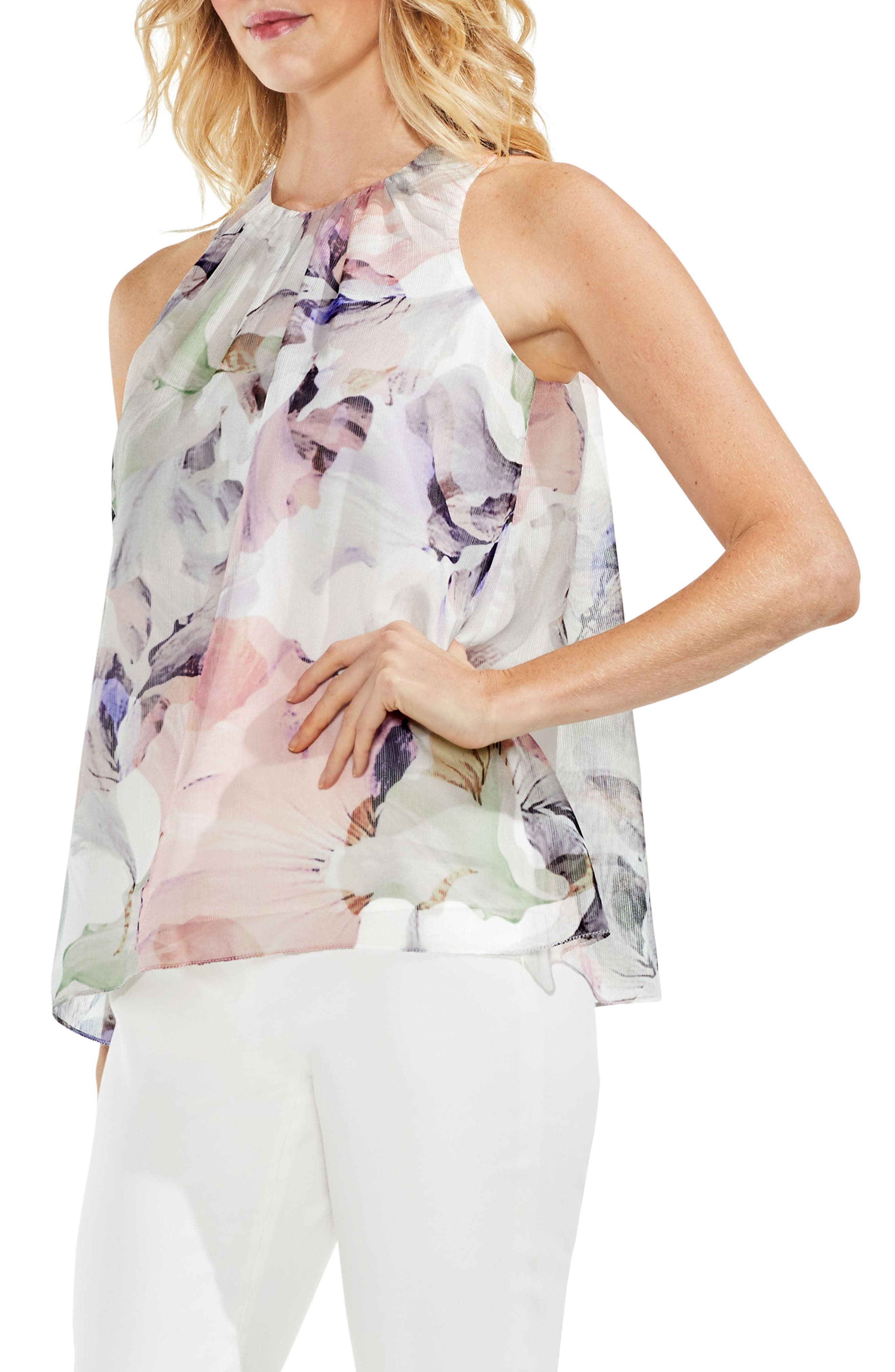 Vince Camuto Sleeveless Floral Chiffon Top