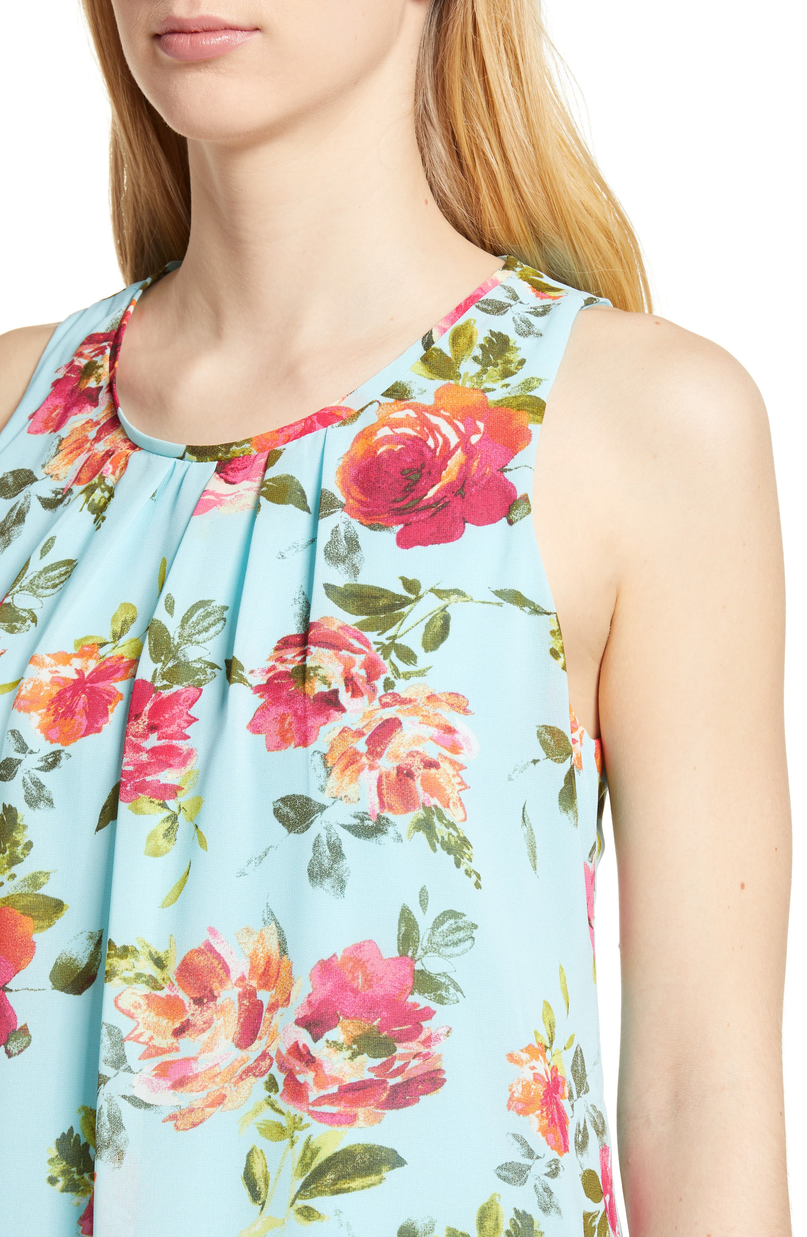 Sela Shift Floral Dress,                             Alternate thumbnail 4, color,                             Sky Blue