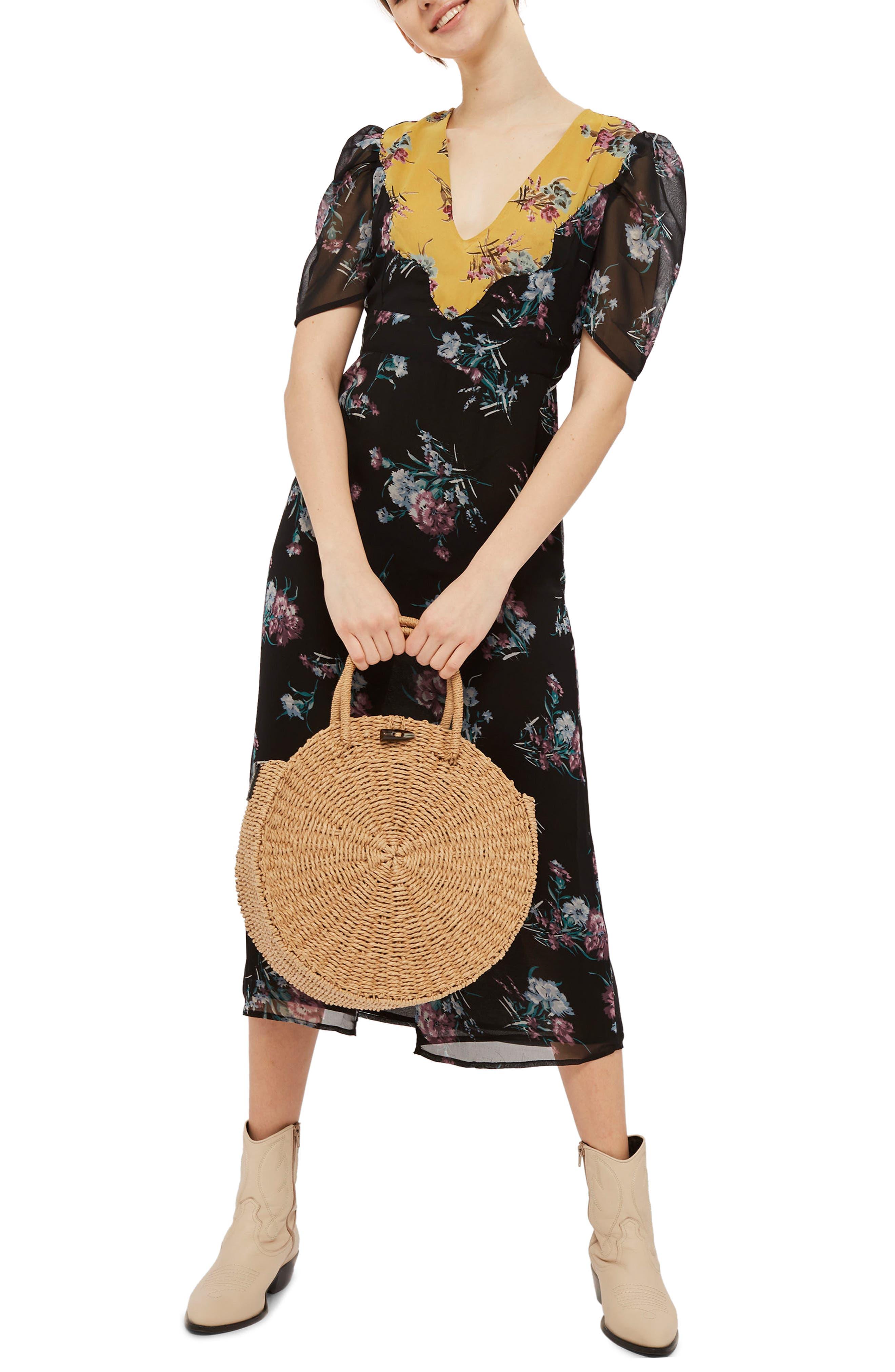 Rodeo Western Midi Dress,                             Main thumbnail 1, color,                             Black Multi