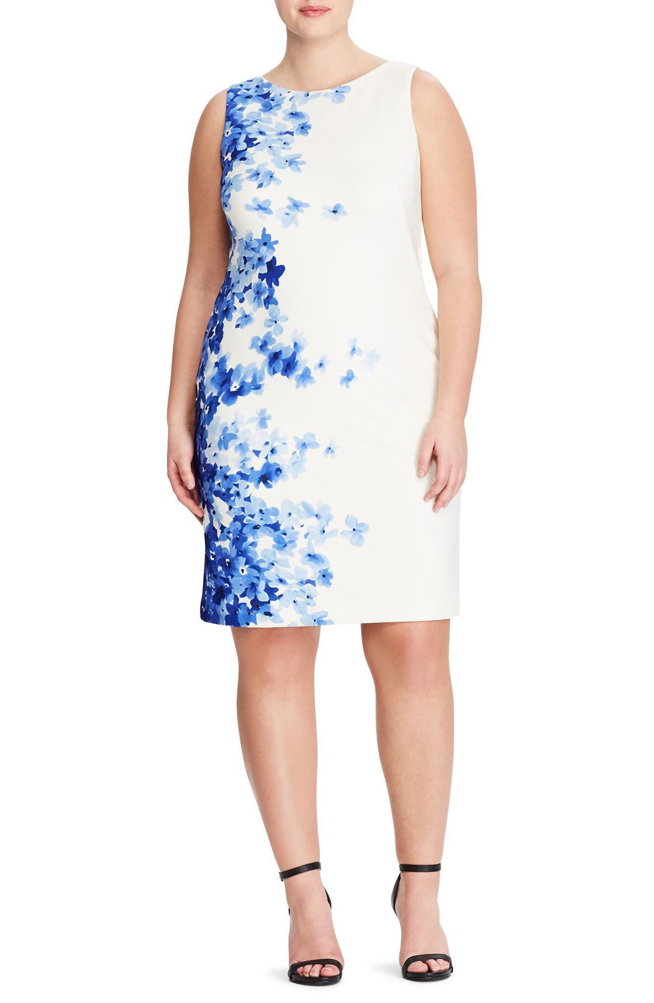 Toralina Caspian Sea Border Sheath Dress,                             Main thumbnail 1, color,                             Col. Cream-Blue-Multi