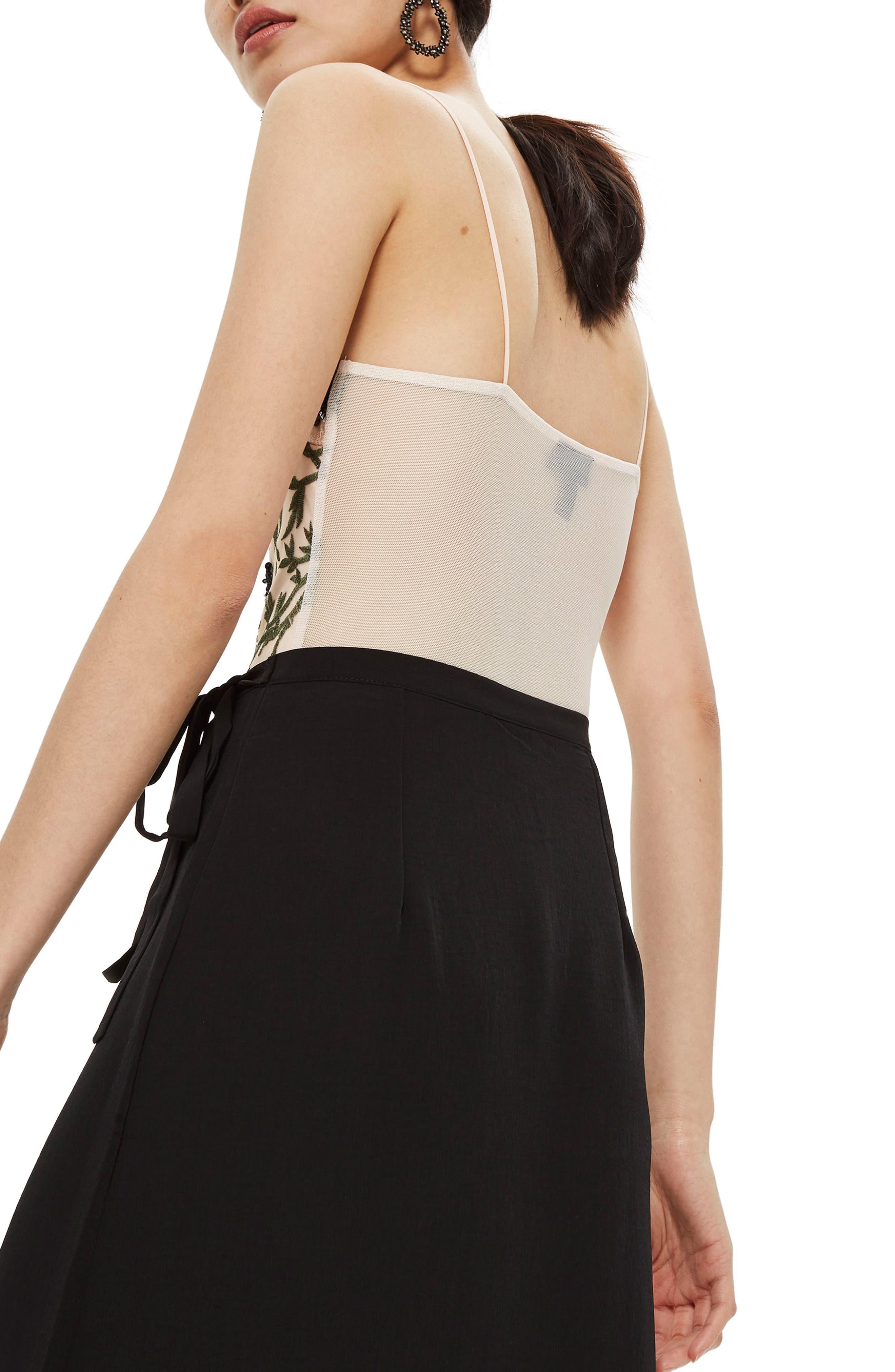 Square Neck Floral Sequin Bodysuit,                             Alternate thumbnail 4, color,                             Nude Multi