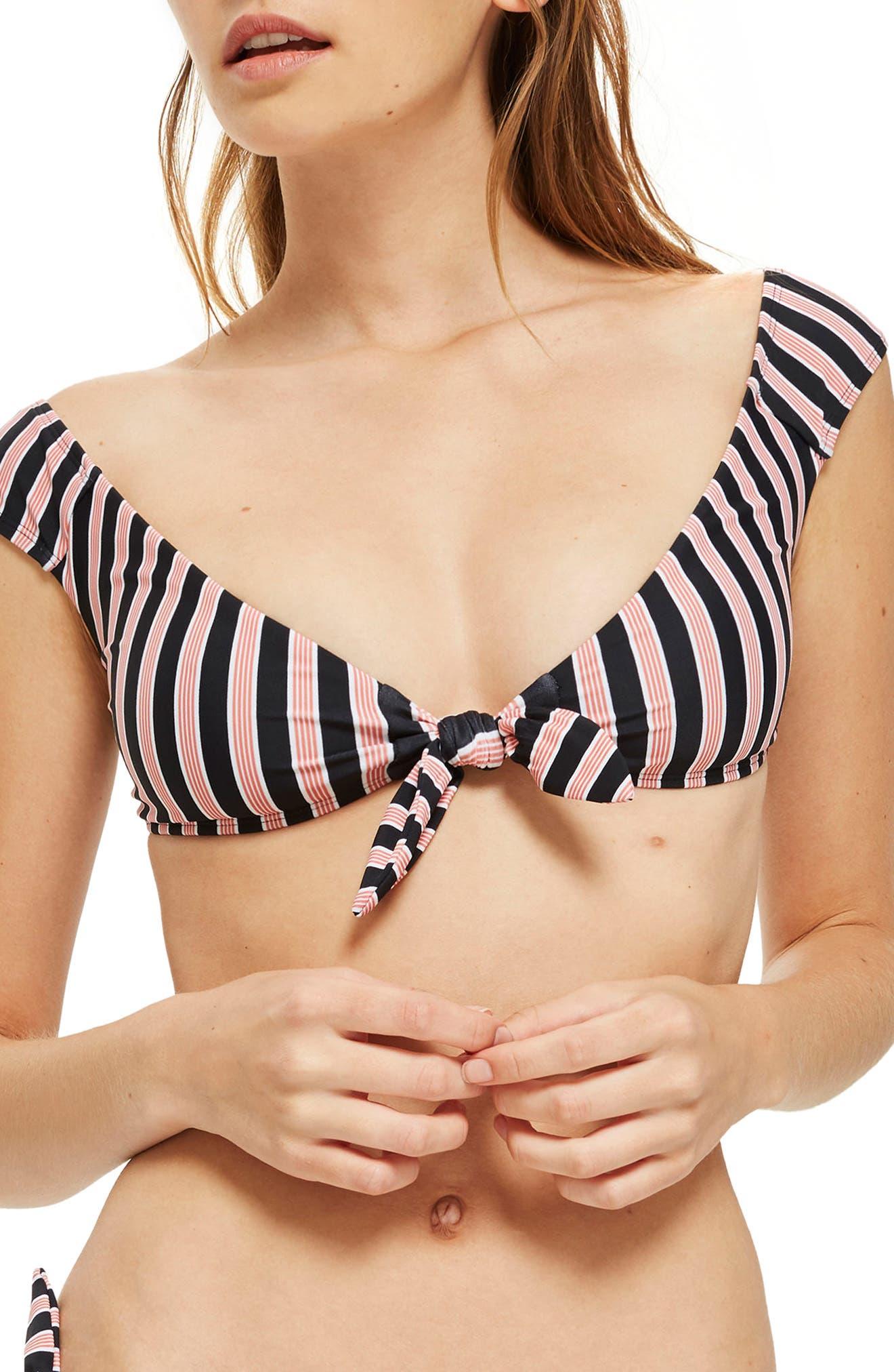 Main Image - Topshop Stripe Tie Front Bikini Top