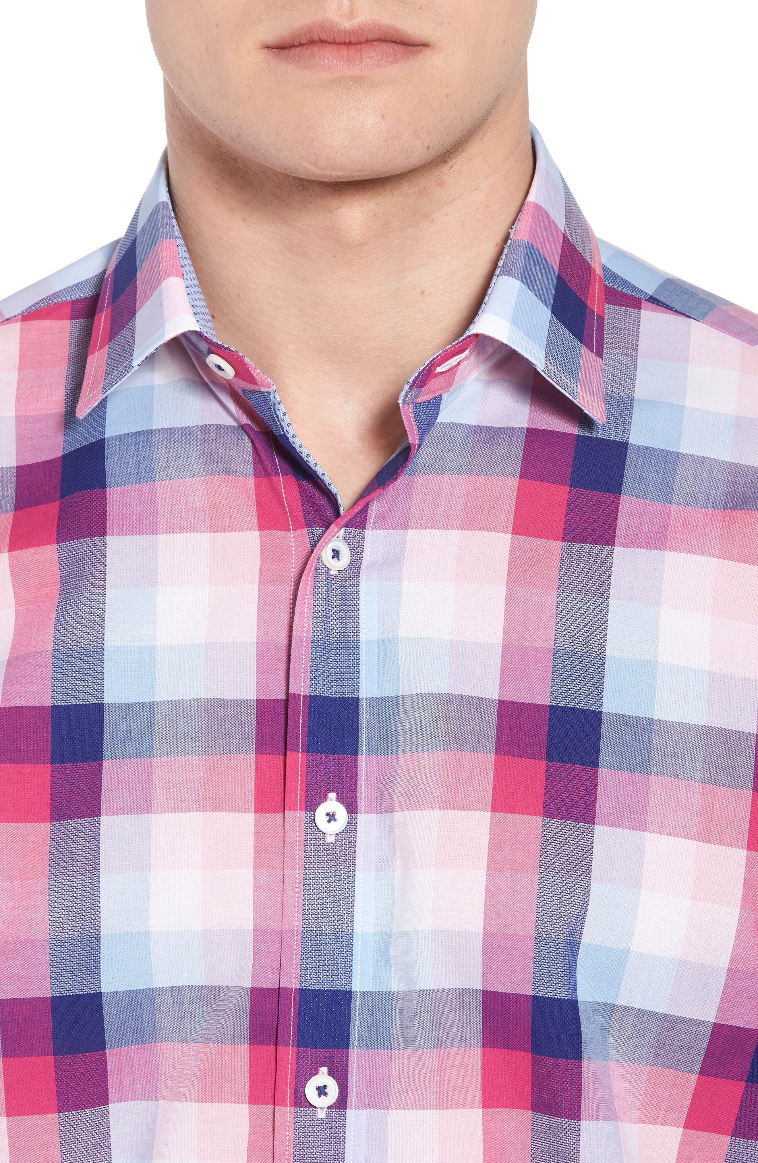 Classic Fit Check Sport Shirt,                             Alternate thumbnail 4, color,                             Gum Drop