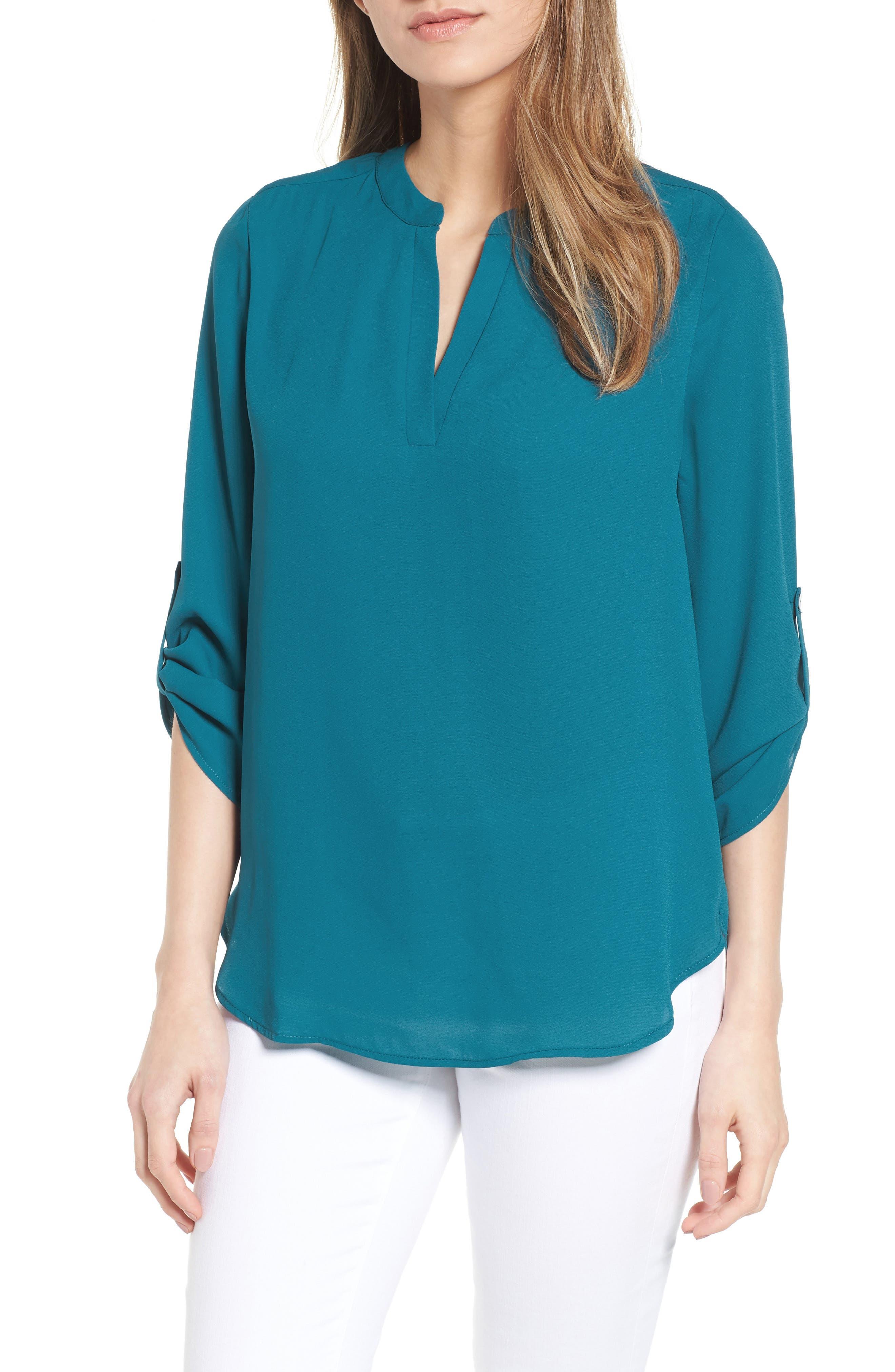 Roll-Tab Sleeve Tunic,                         Main,                         color, Teal