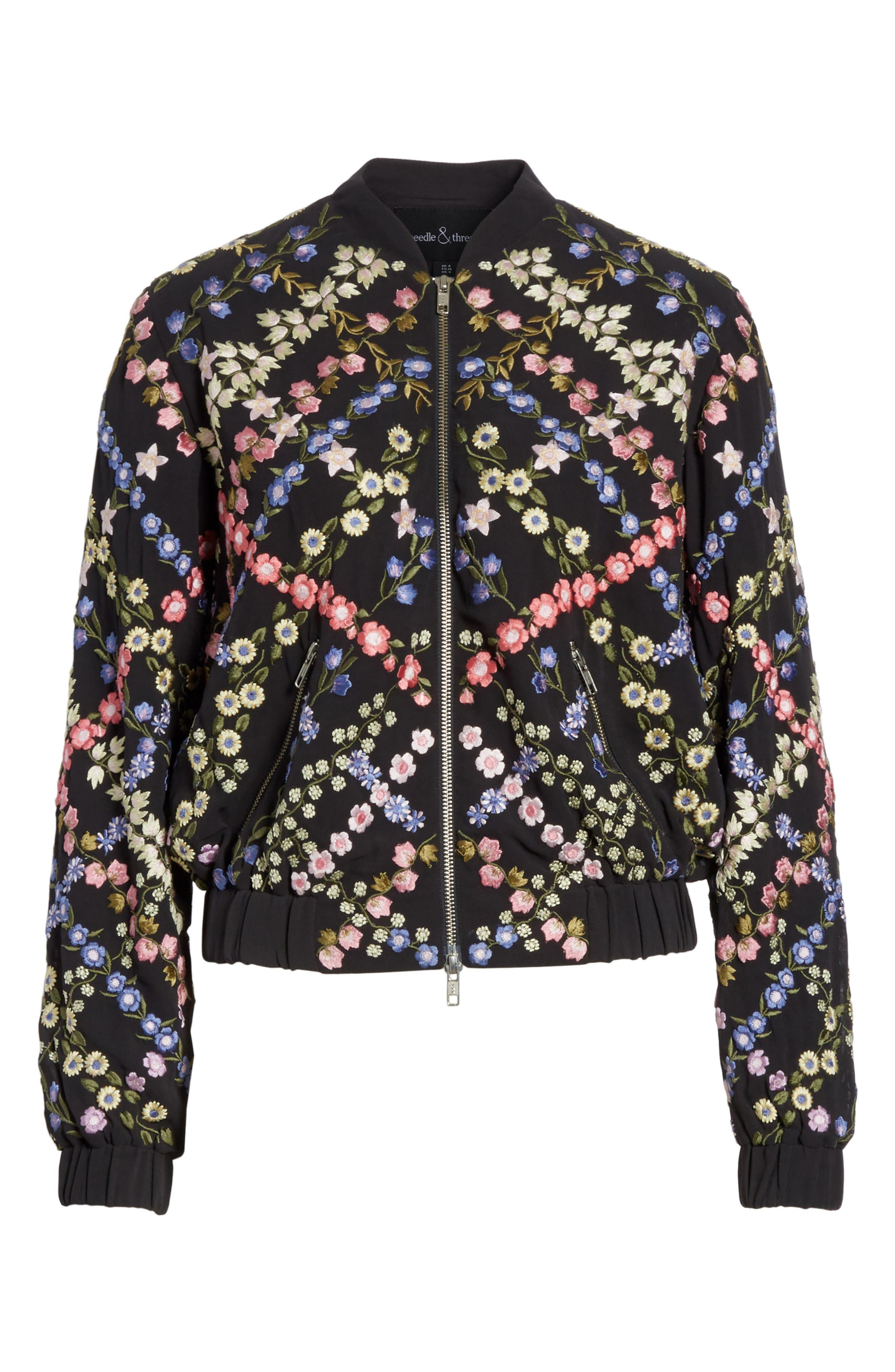 Crosshatch Embroidered Bomber Jacket,                             Alternate thumbnail 6, color,                             Graphite / Lavender