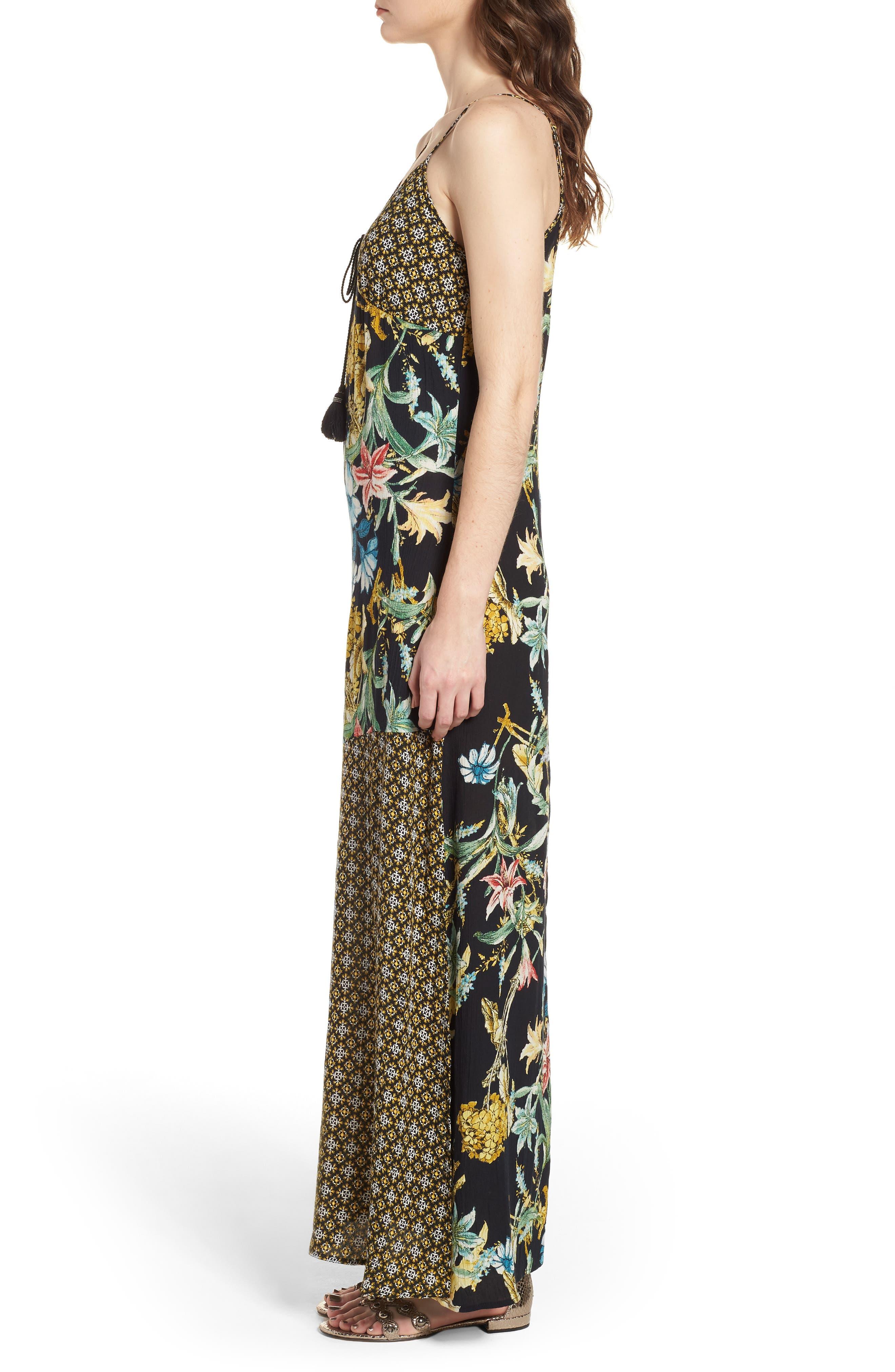 Tropical Mixed Print Maxi Dress,                             Alternate thumbnail 3, color,                             Black/ Yellow
