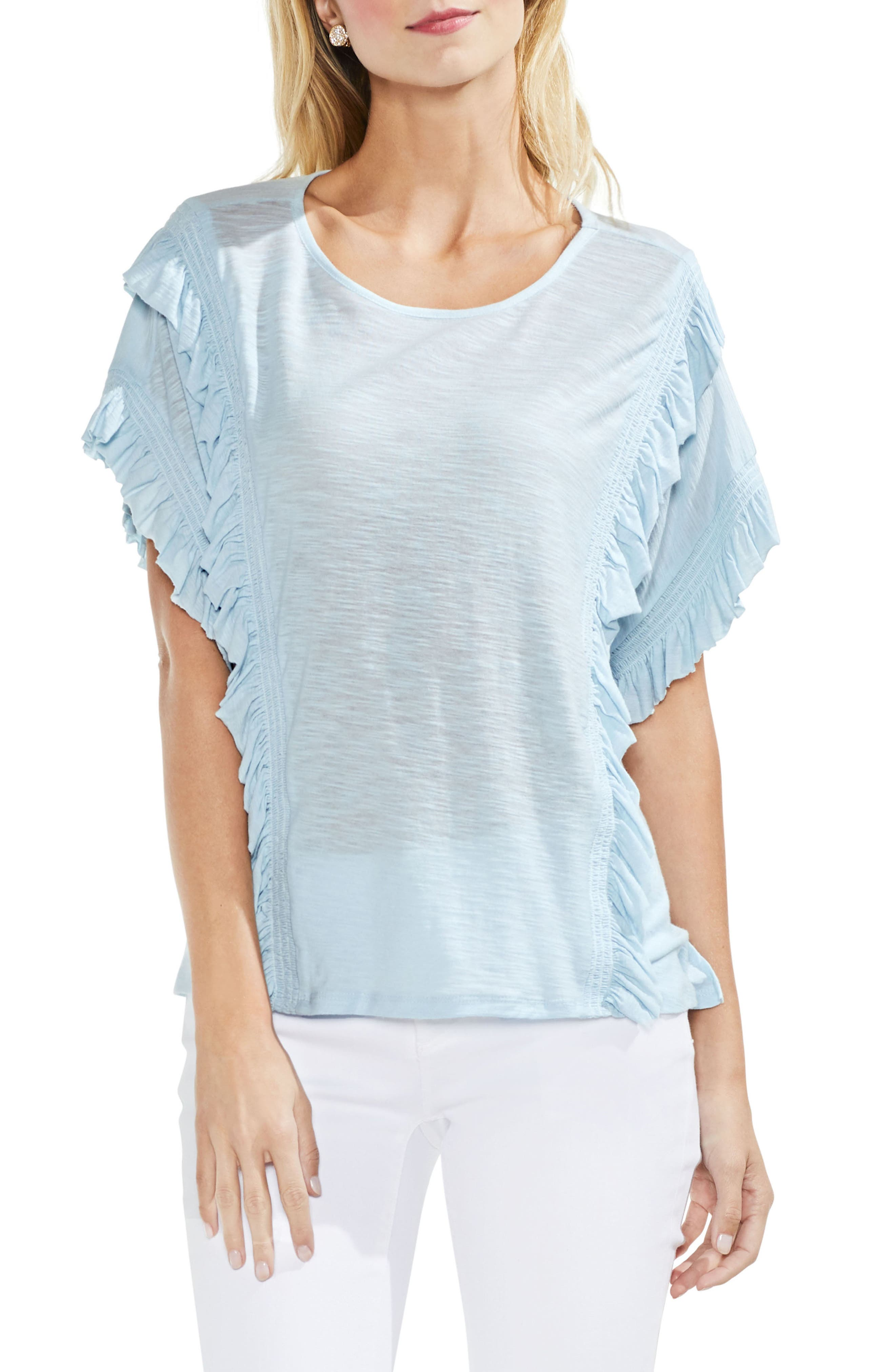 Ruffle Front Top,                         Main,                         color, Chalk Blue