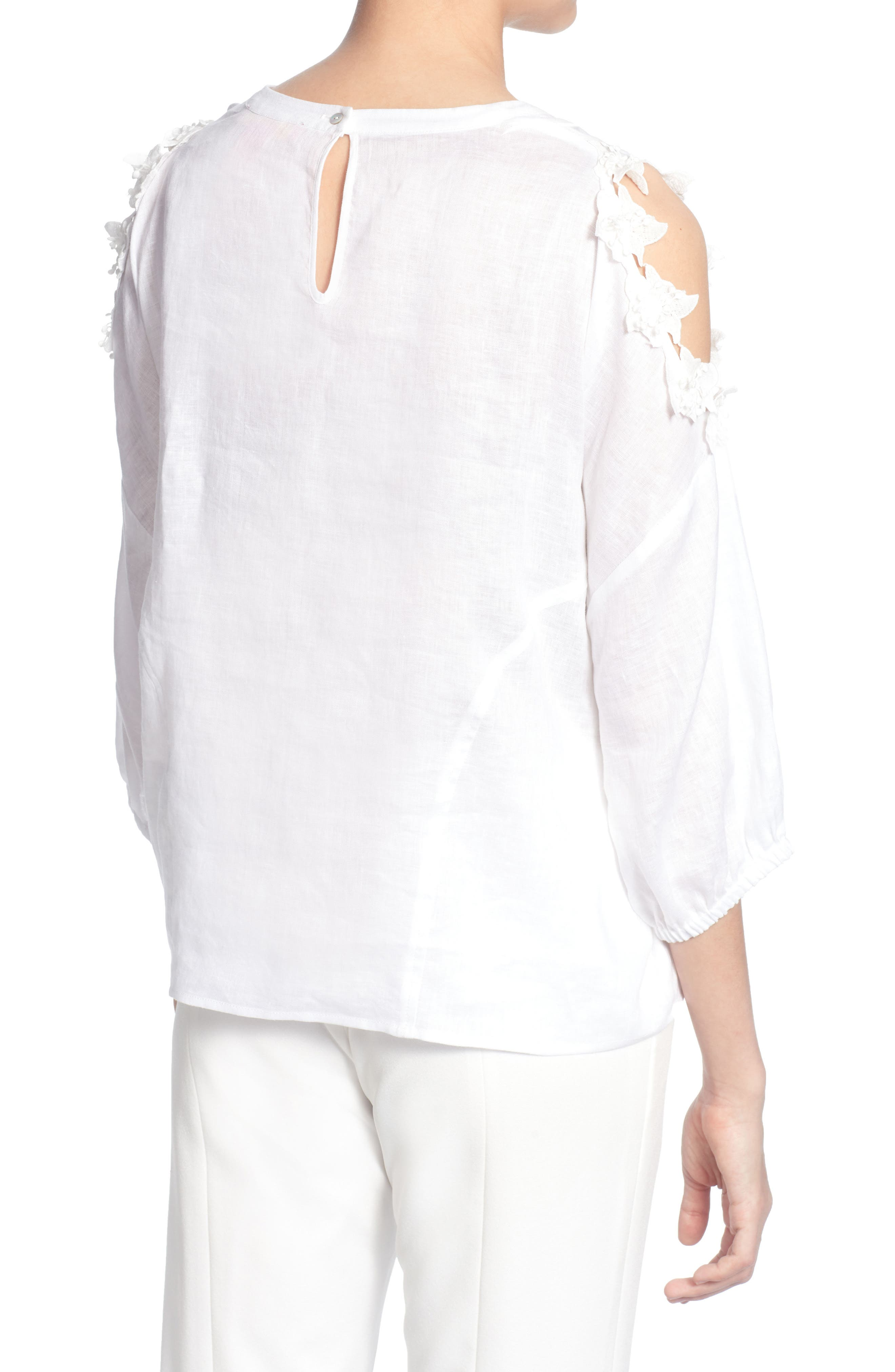 Priya Cold Shoulder Top,                             Alternate thumbnail 2, color,                             Bright White