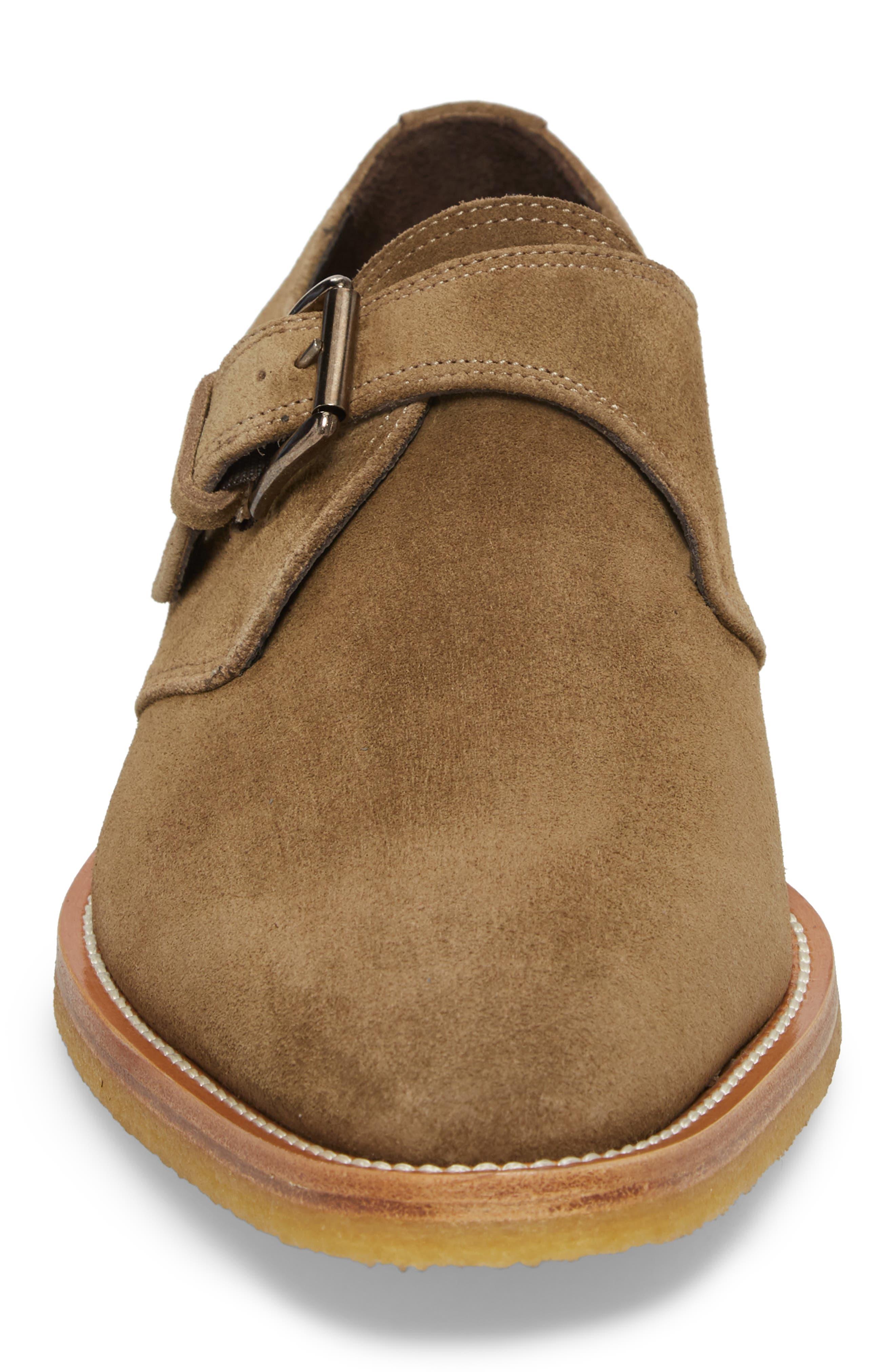 Baldwin Plain Toe Monk Shoe,                             Alternate thumbnail 4, color,                             Taupe Suede