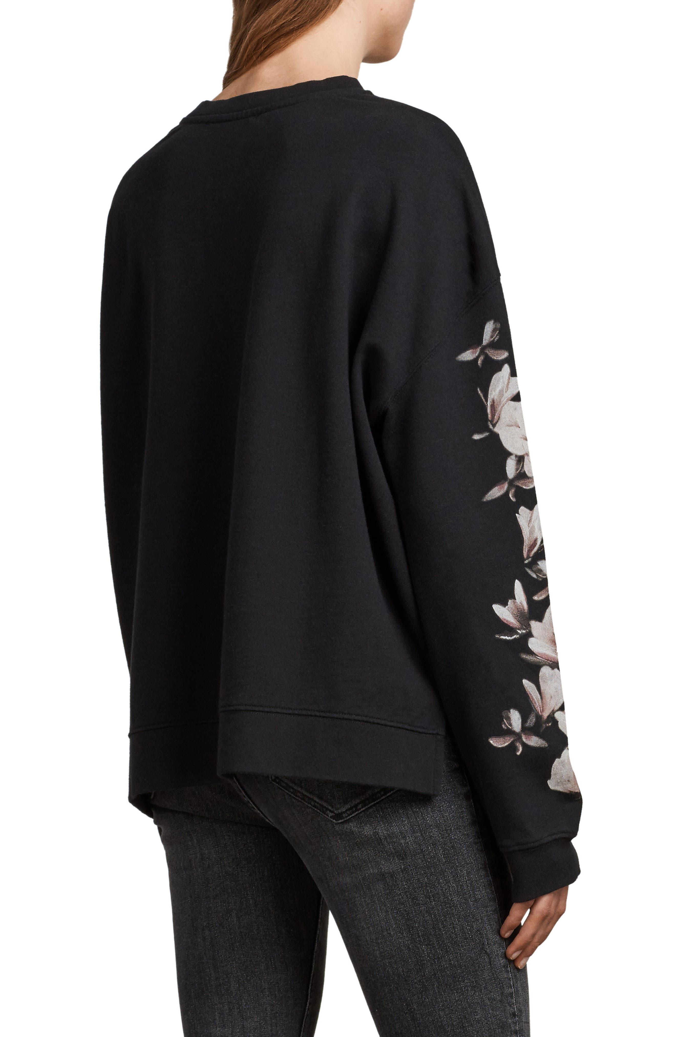 Magnolia Floral Print Cotton Sweatshirt,                             Alternate thumbnail 2, color,                             Black