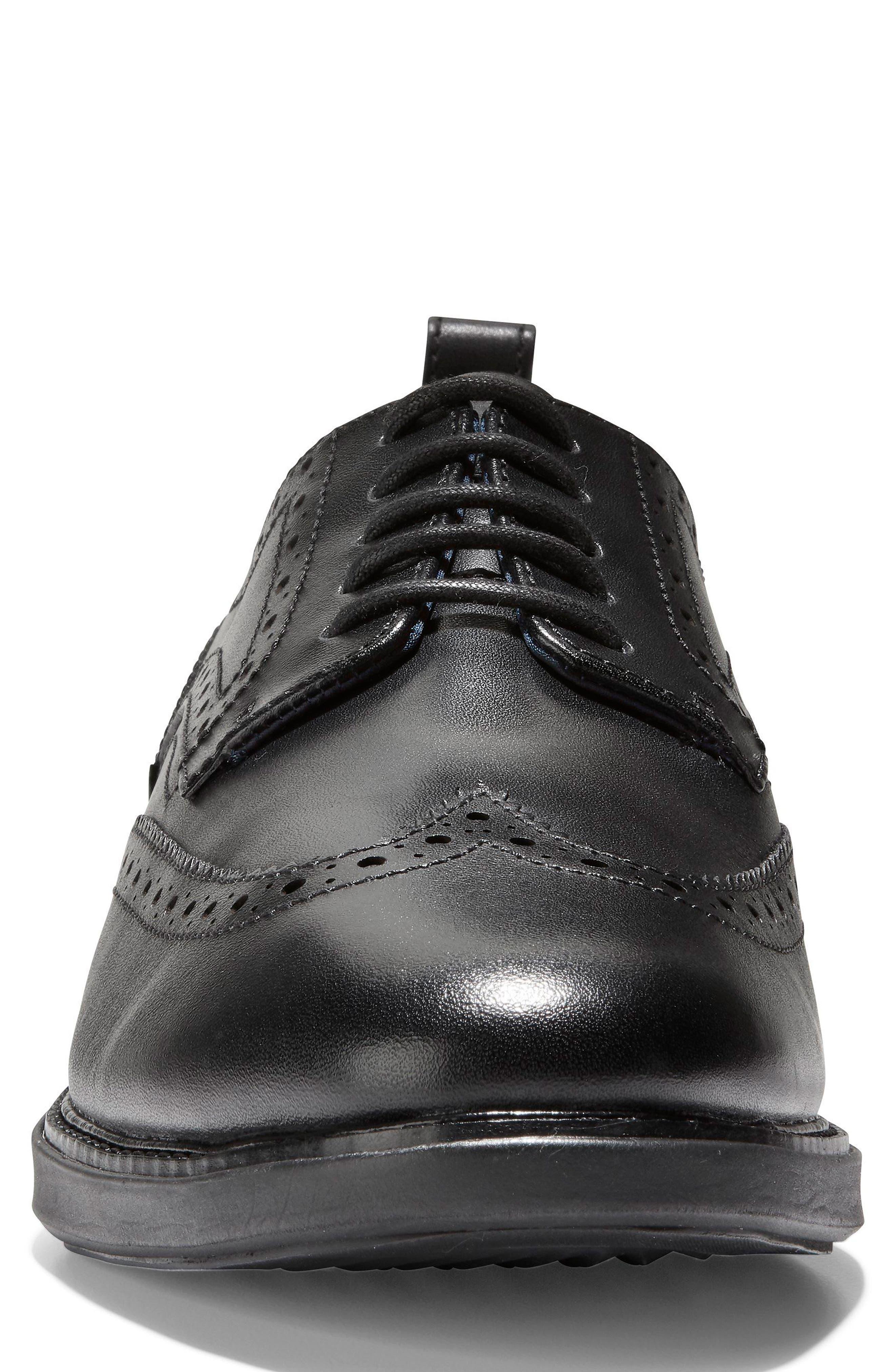 GrandEvølution Wingtip Derby,                             Alternate thumbnail 4, color,                             Black Leather
