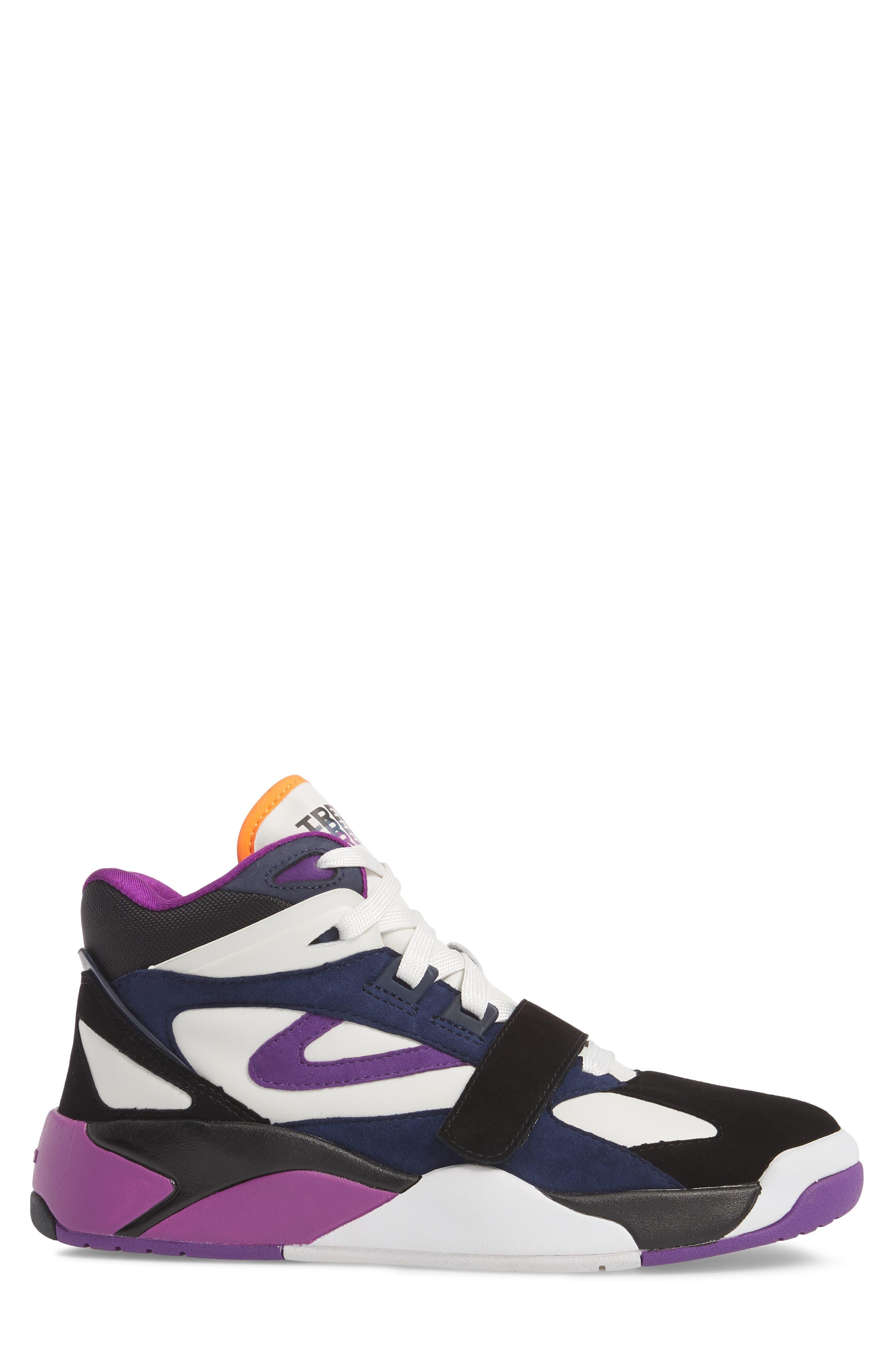 Andre 3000 Bostad 2 High Top Sneaker,                             Alternate thumbnail 3, color,                             Black/ White/ Purple