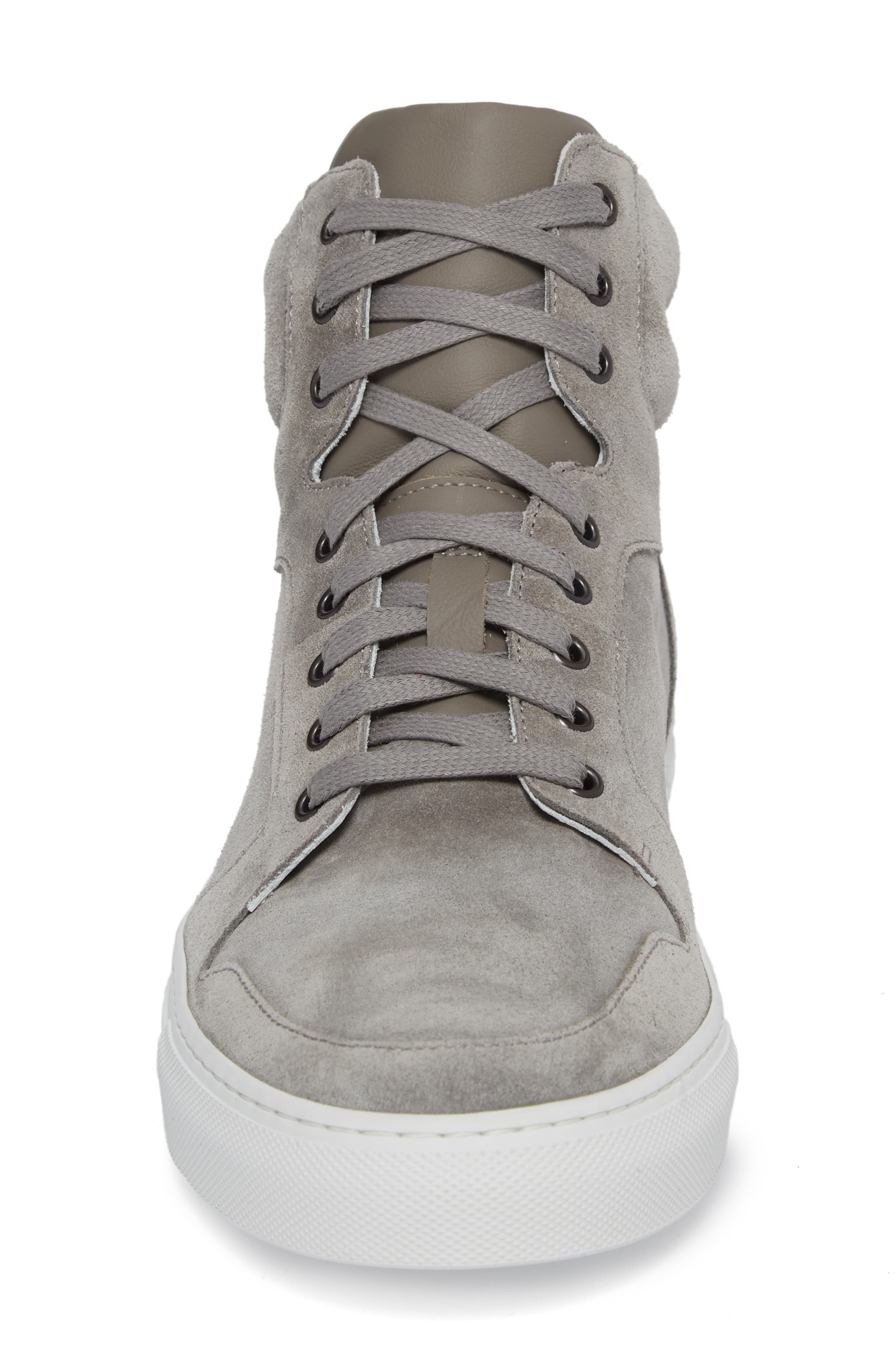 Belmont High Top Sneaker,                             Alternate thumbnail 4, color,                             Grey Suede