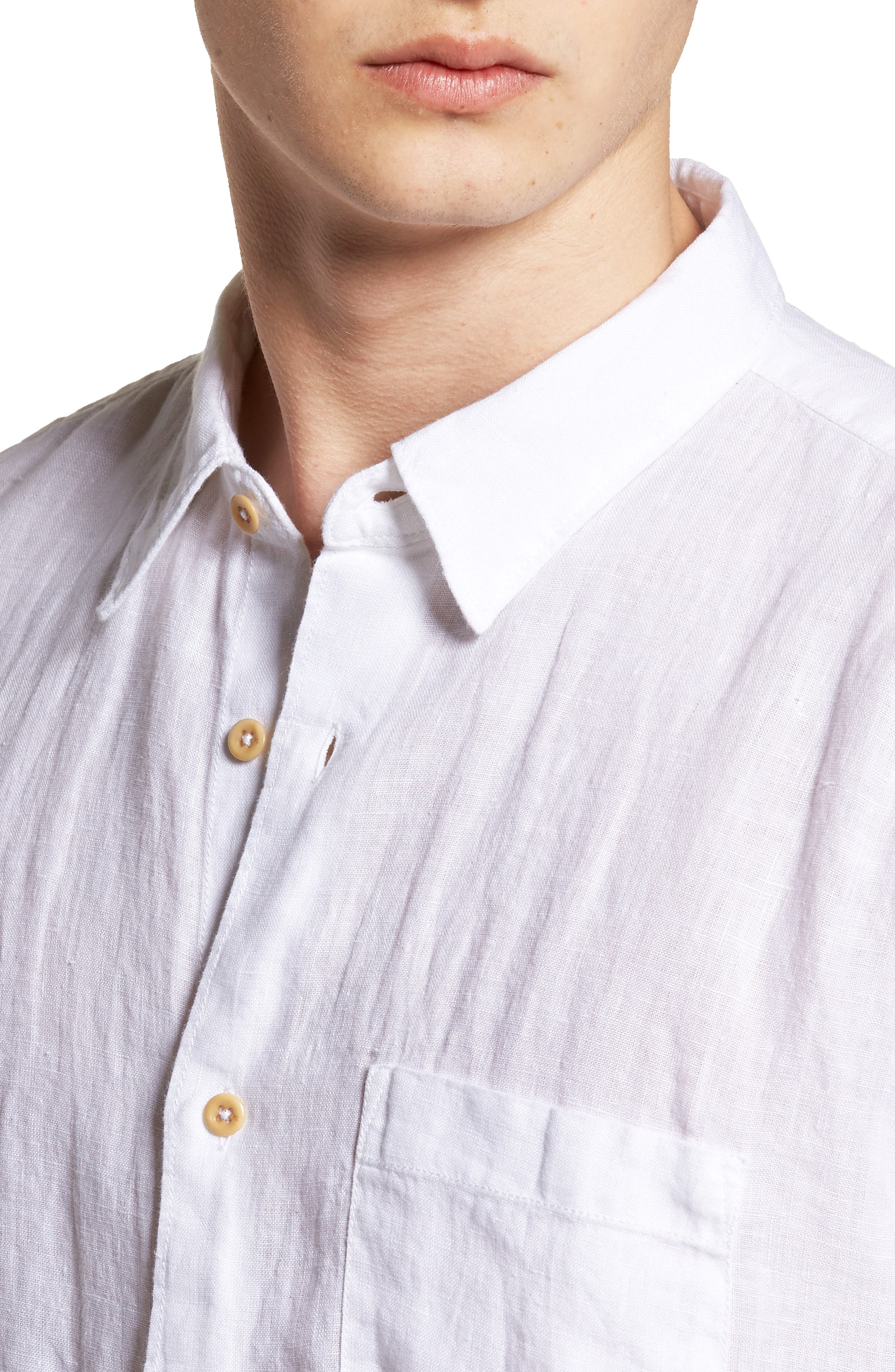 Relaxed Fit Solid Linen Sport Shirt,                             Alternate thumbnail 4, color,                             White