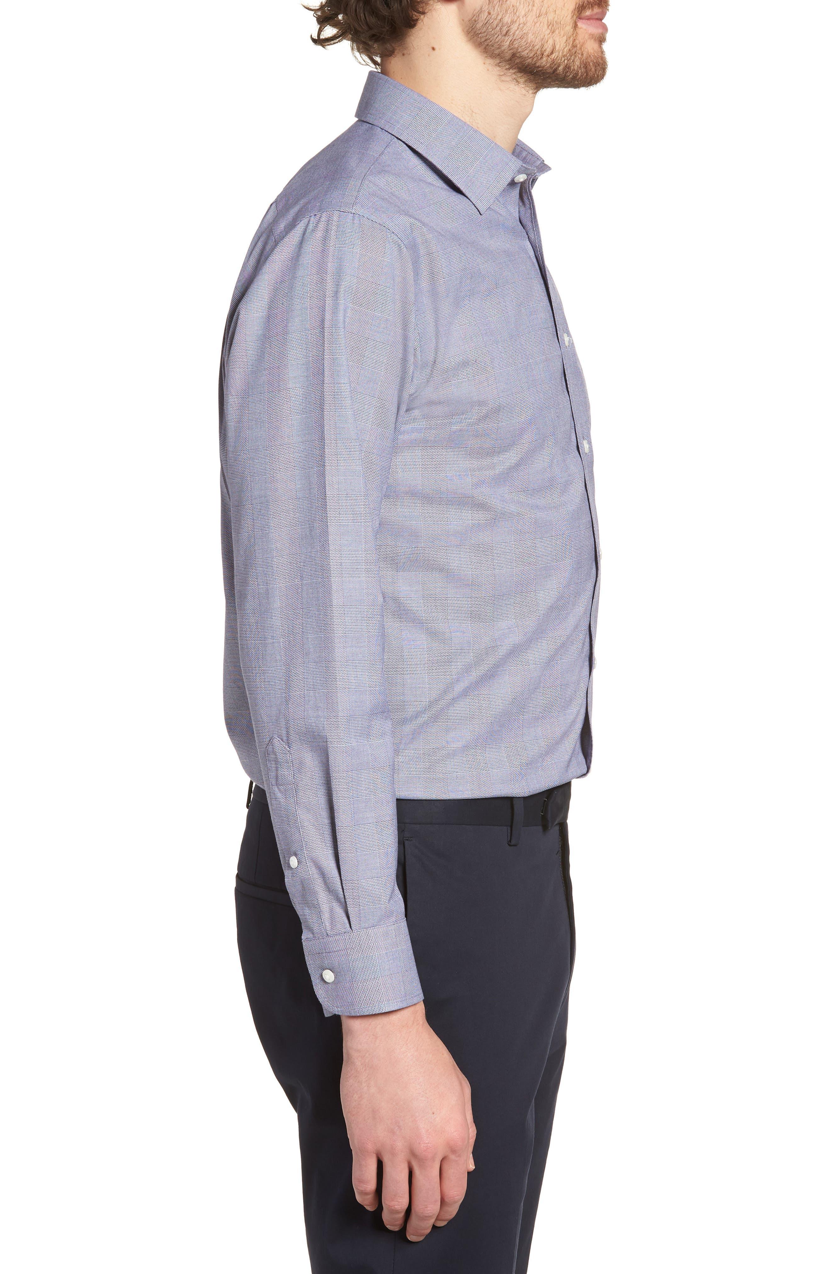 Smartcare<sup>™</sup> Trim Fit Plaid Dress Shirt,                             Alternate thumbnail 4, color,                             Grey Grisaille