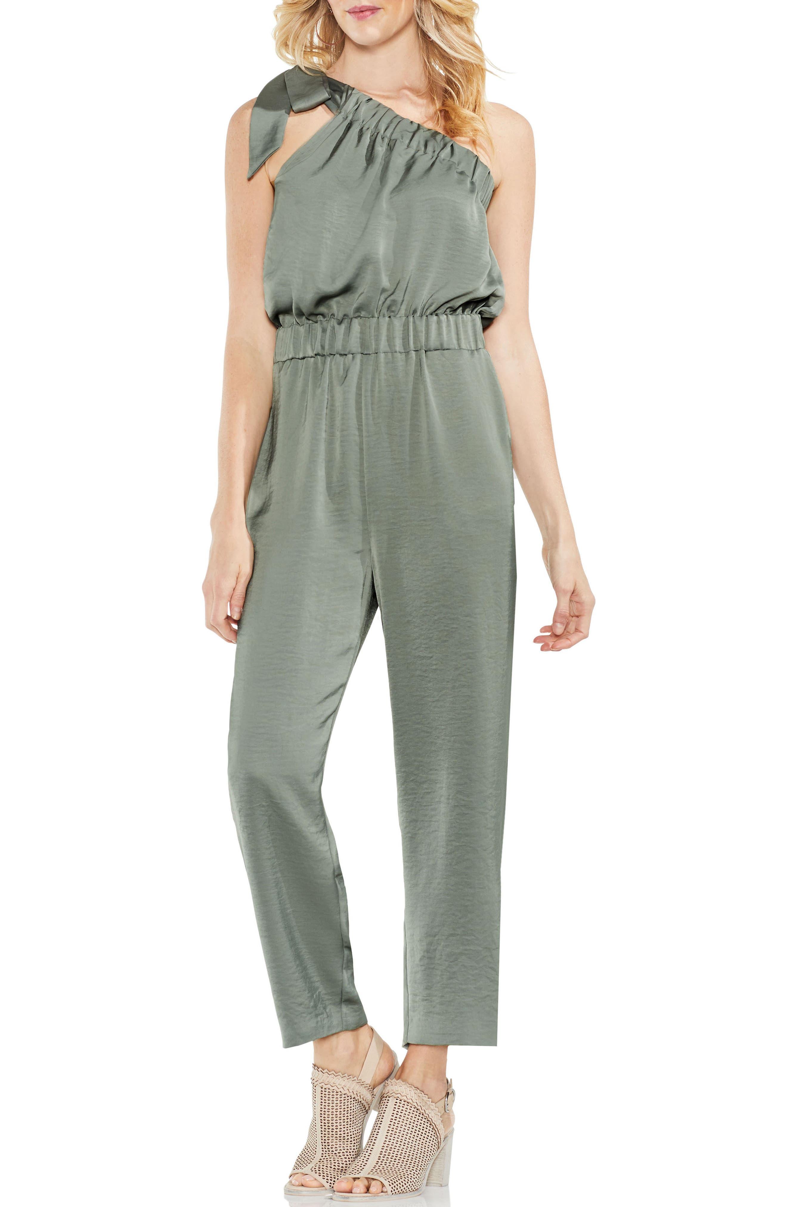 One-Shoulder Crop Jumpsuit,                             Main thumbnail 1, color,                             Camo Green