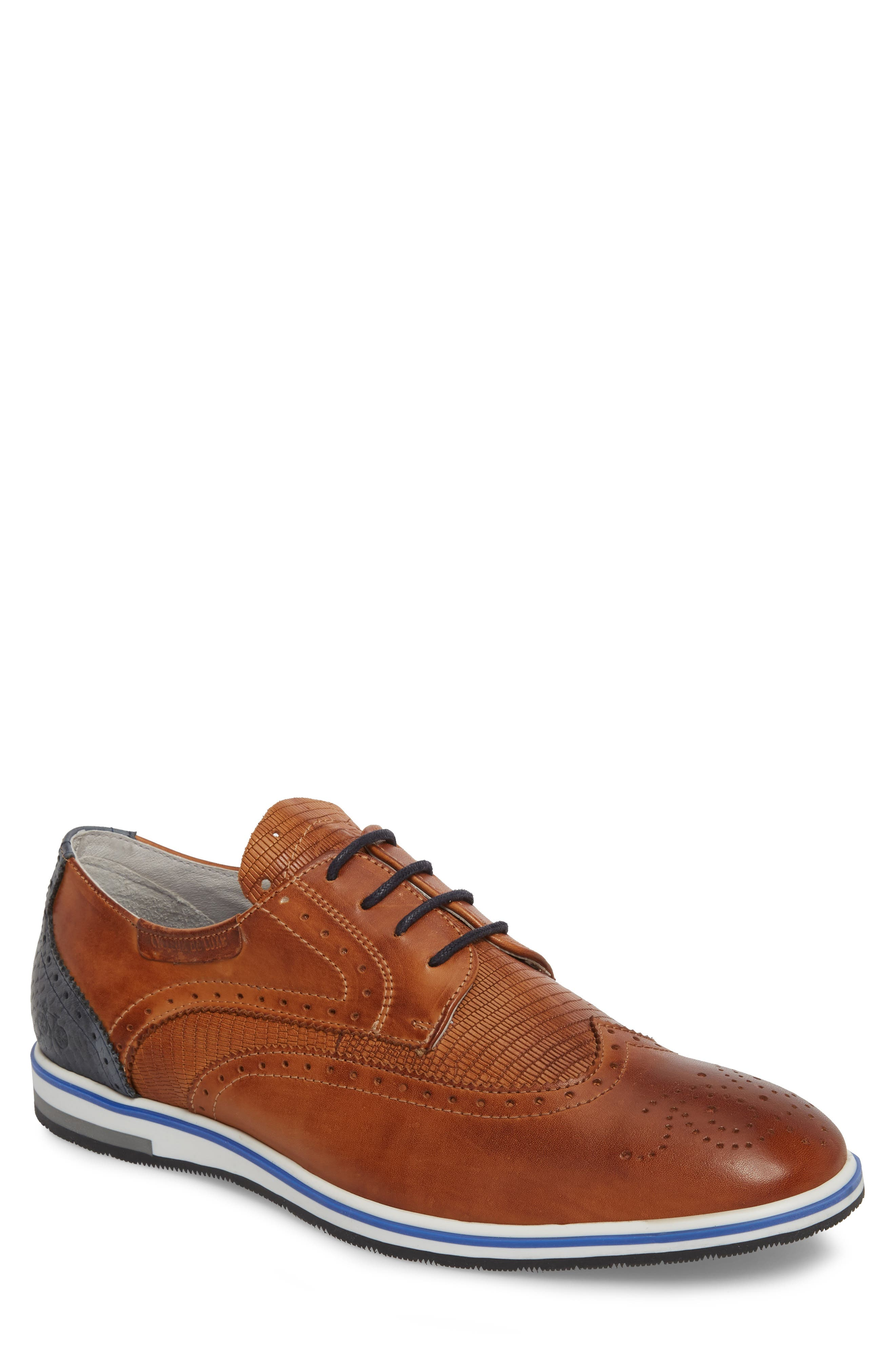 Pulsano Textured Wingtip,                             Main thumbnail 1, color,                             Cognac/ Denim Leather