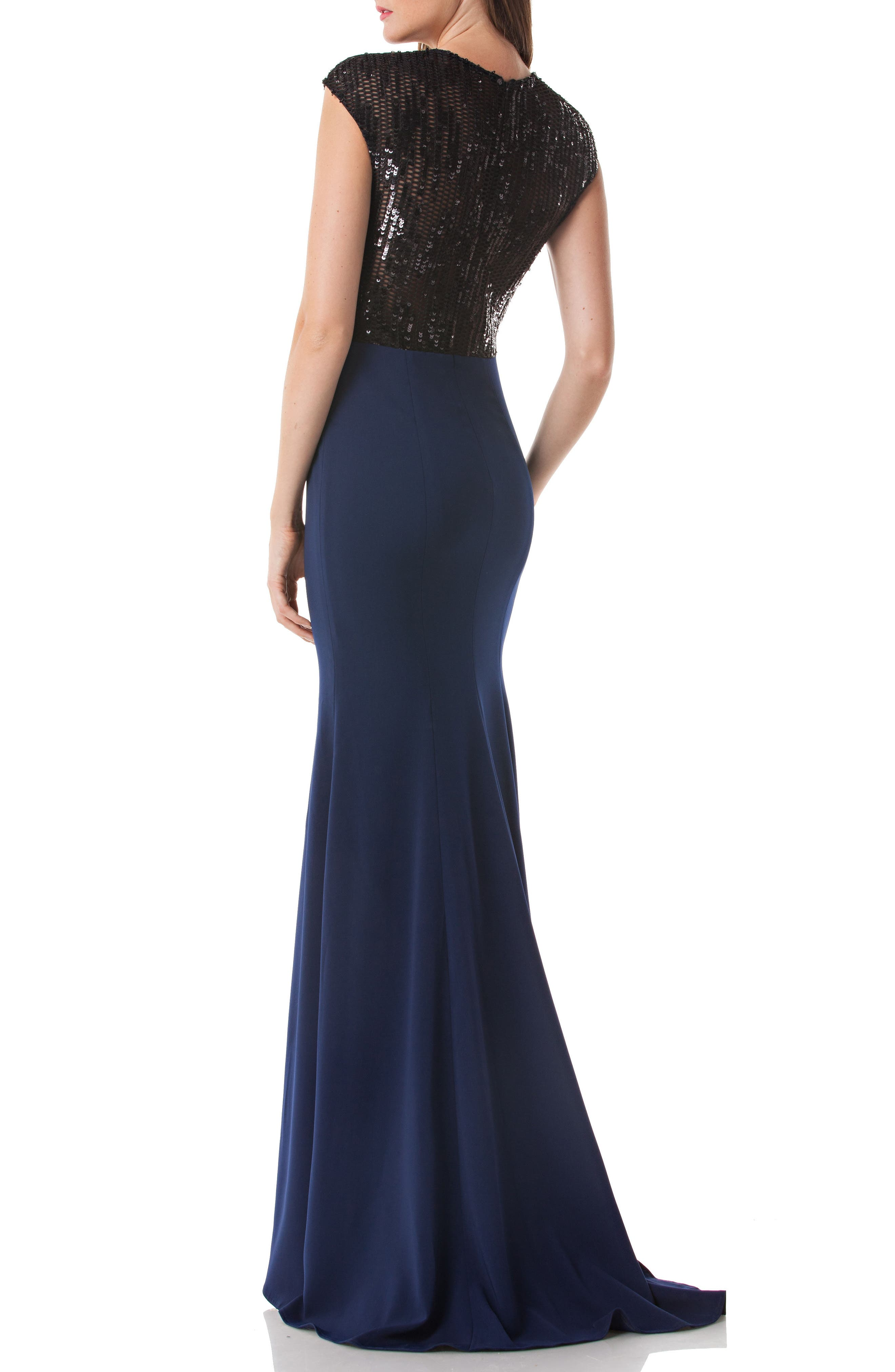 Sequin Trim Trumpet Gown,                             Alternate thumbnail 2, color,                             Navy/ Blk