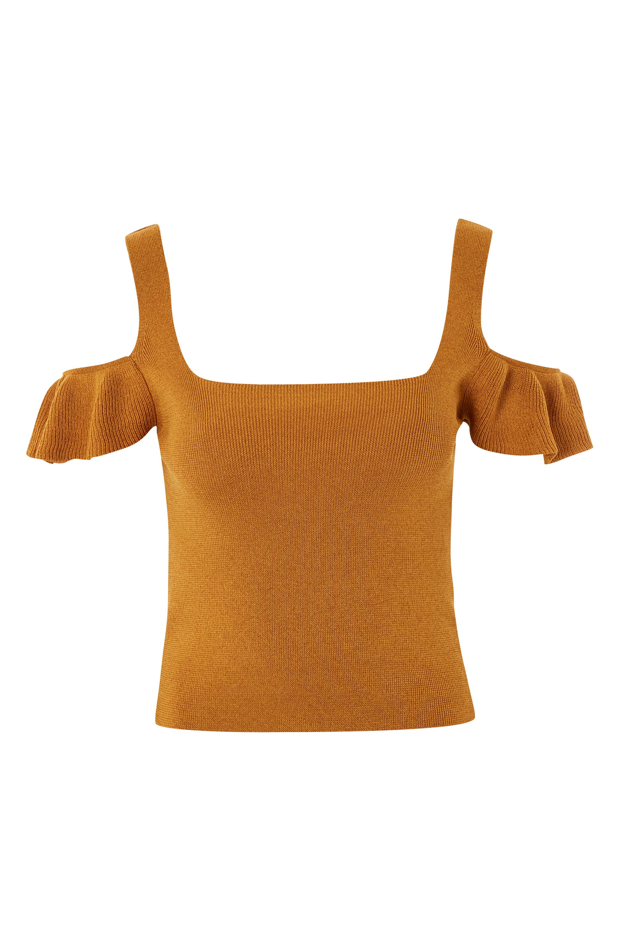 Ruffle Cold Shoulder Knit Top,                             Main thumbnail 1, color,                             Mustard