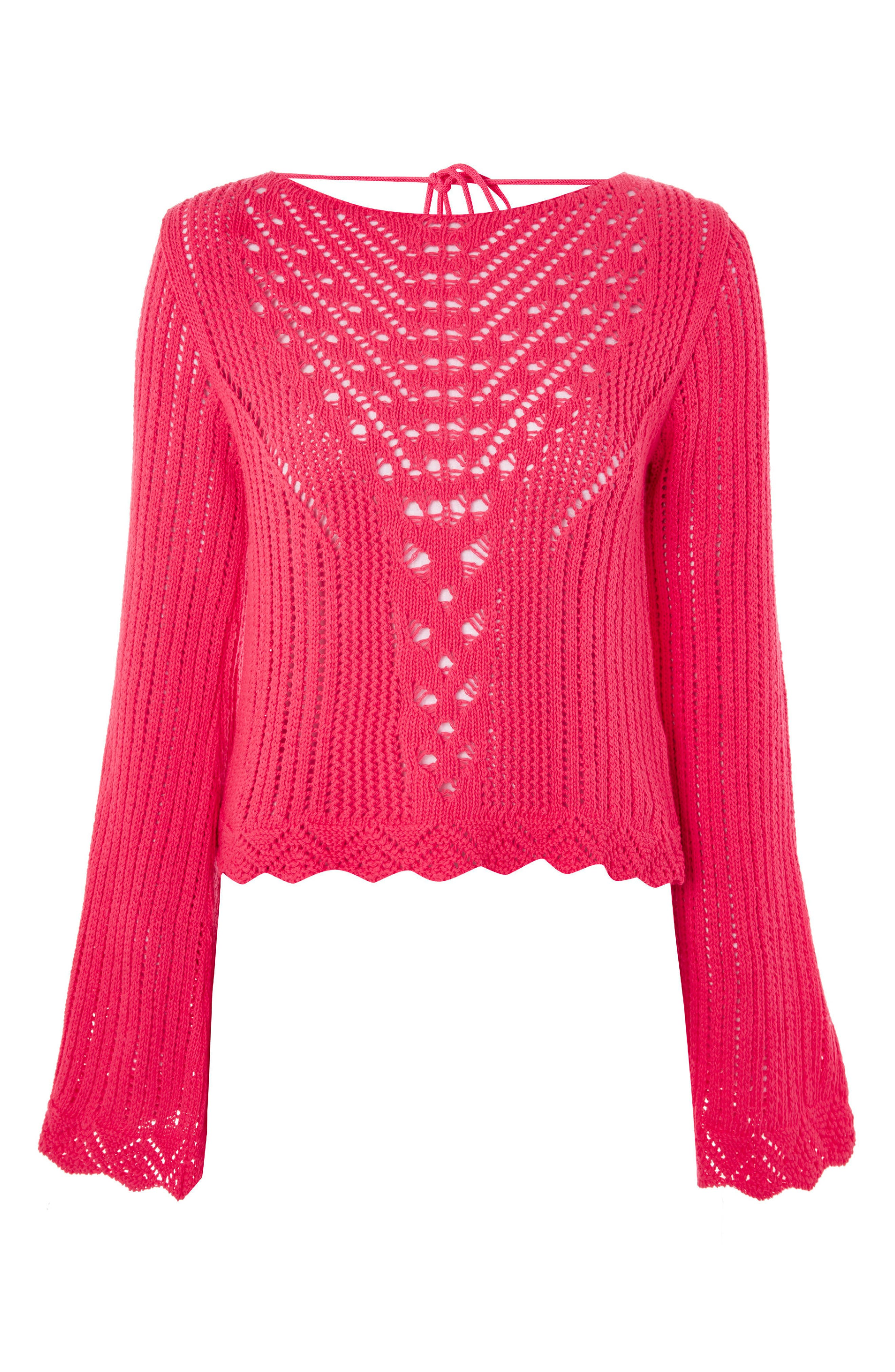 Tie Back Bell Sleeve Sweater,                             Alternate thumbnail 4, color,                             Bright Pink