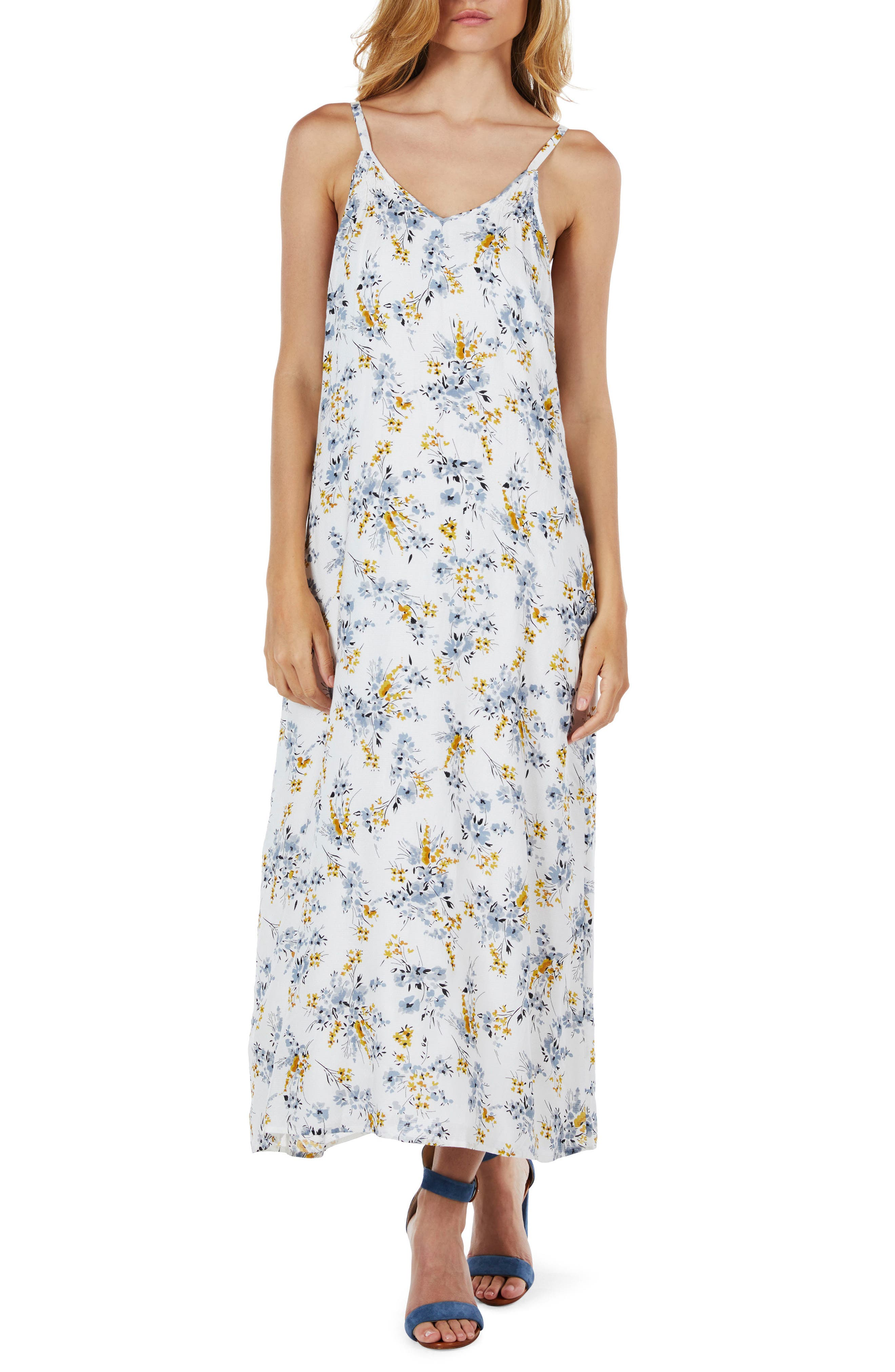 Floral Maxi Dress,                         Main,                         color, Dandelion
