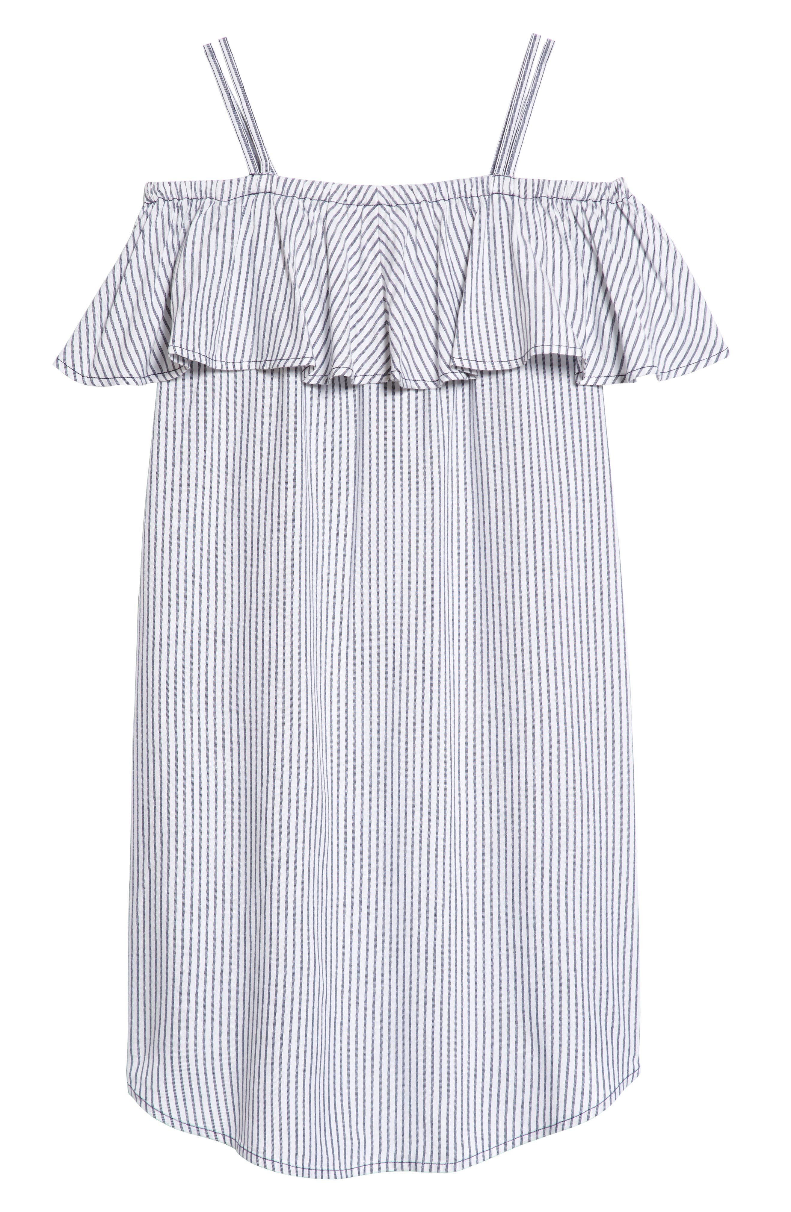 Ruffle Cold Shoulder Dress,                             Main thumbnail 1, color,                             White- Blue Stripe