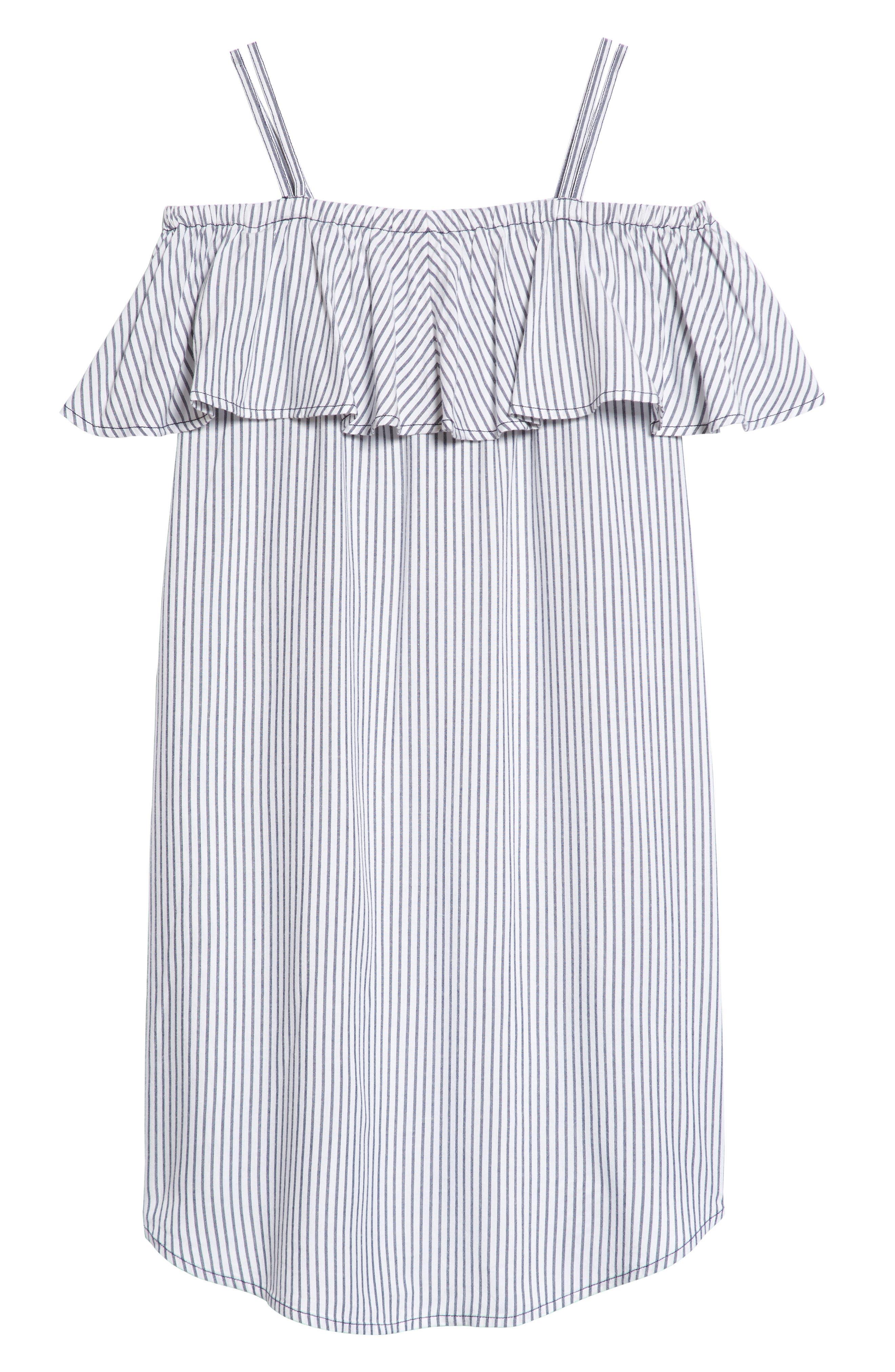 Main Image - Treasure & Bond Ruffle Cold Shoulder Dress (Big Girls)