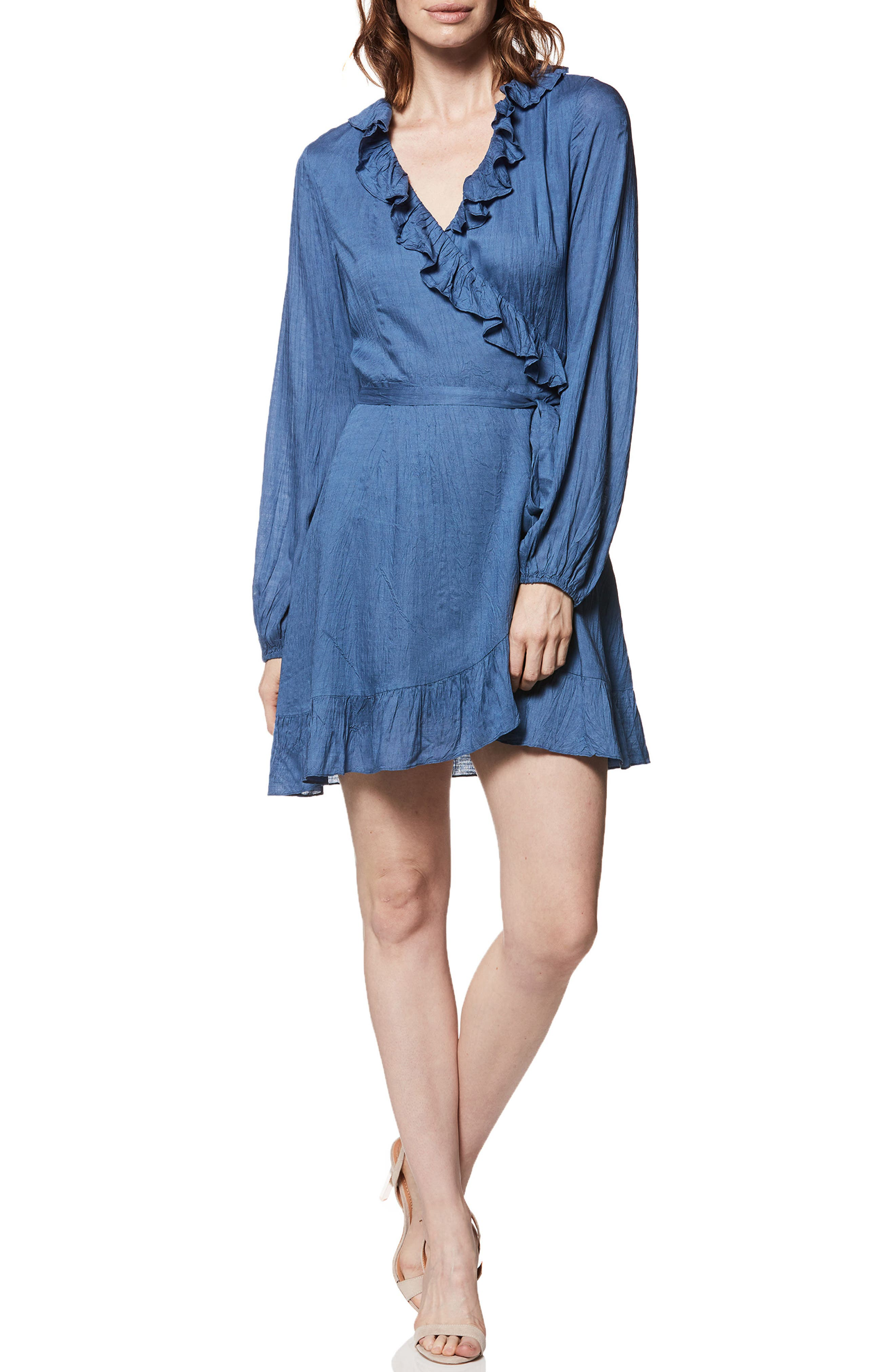 Shawna Ruffle Wrap Dress,                             Main thumbnail 1, color,                             Bijou Blue