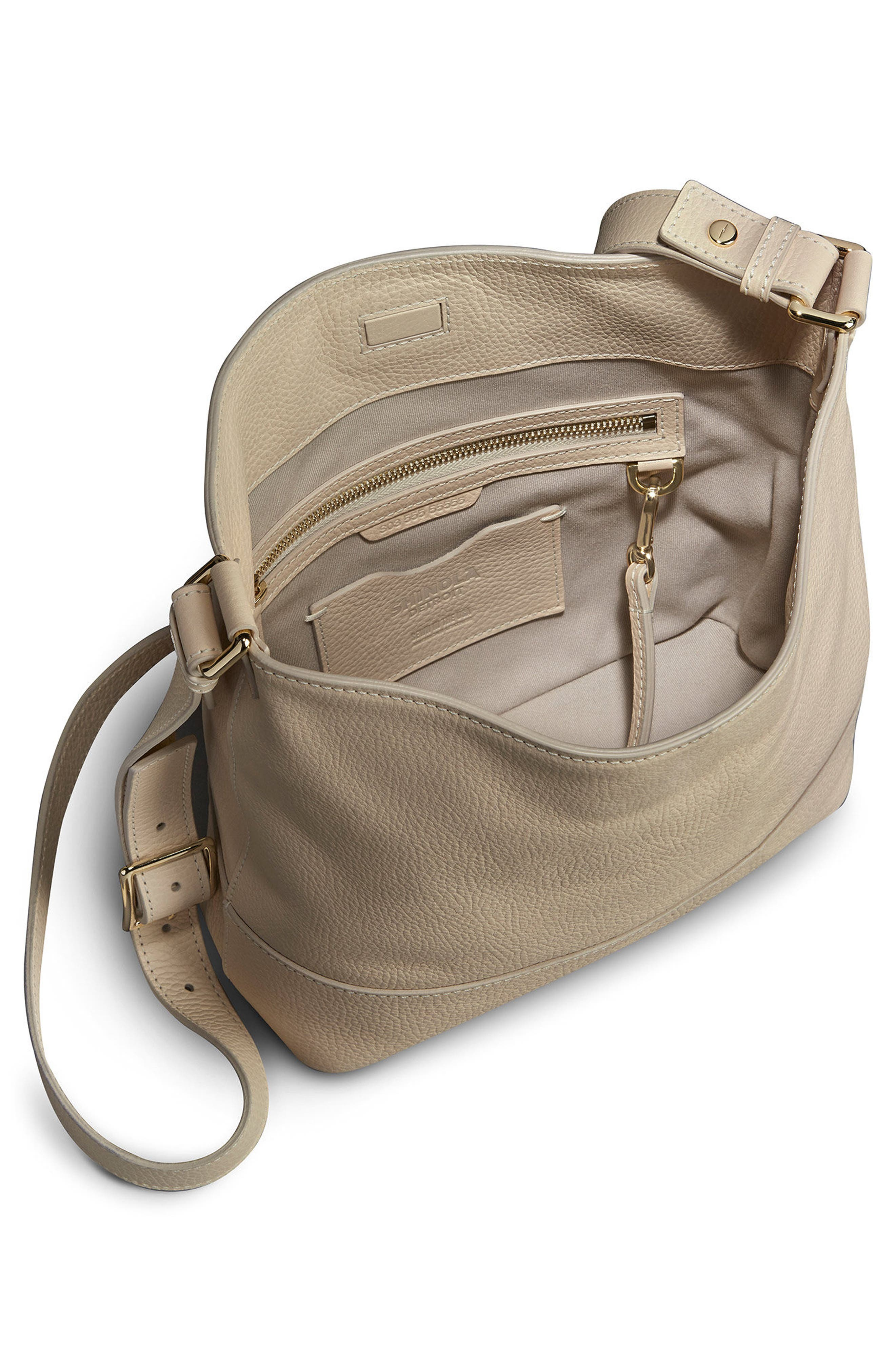 Small Relaxed Leather Hobo Bag,                             Alternate thumbnail 3, color,                             Stone
