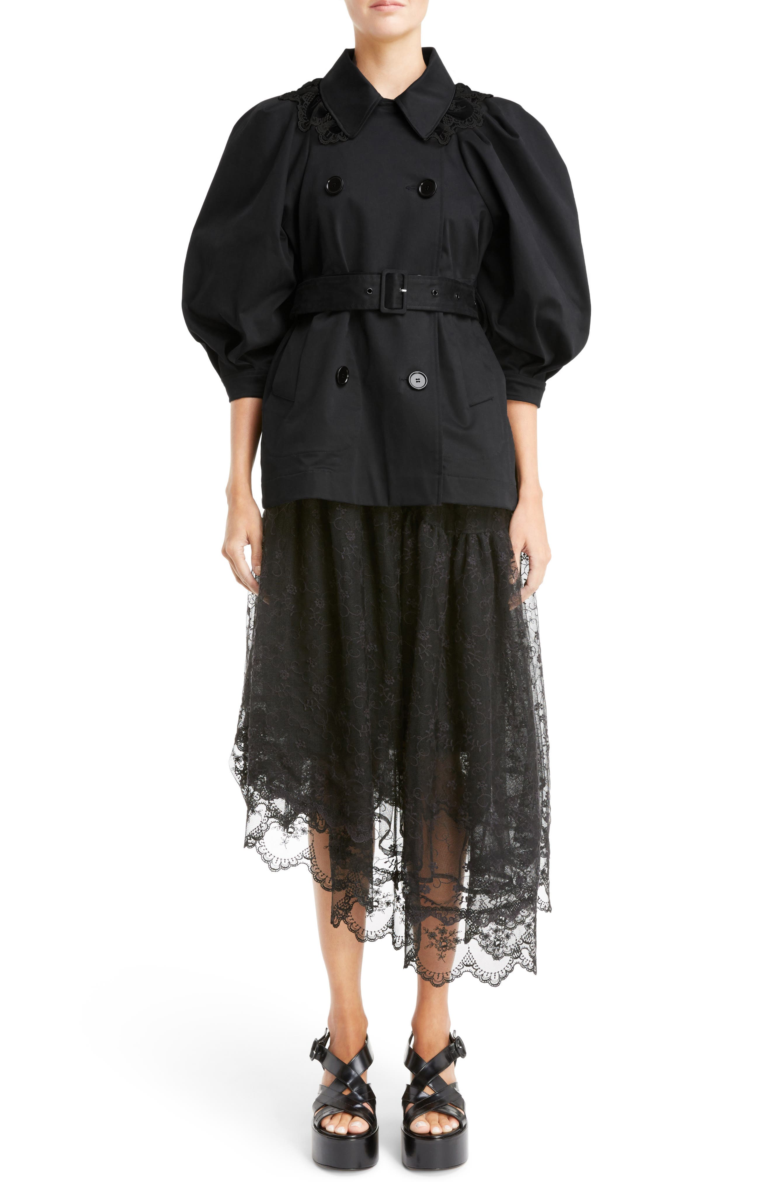 Lace Trim Pea Jacket,                             Alternate thumbnail 7, color,                             Black Black