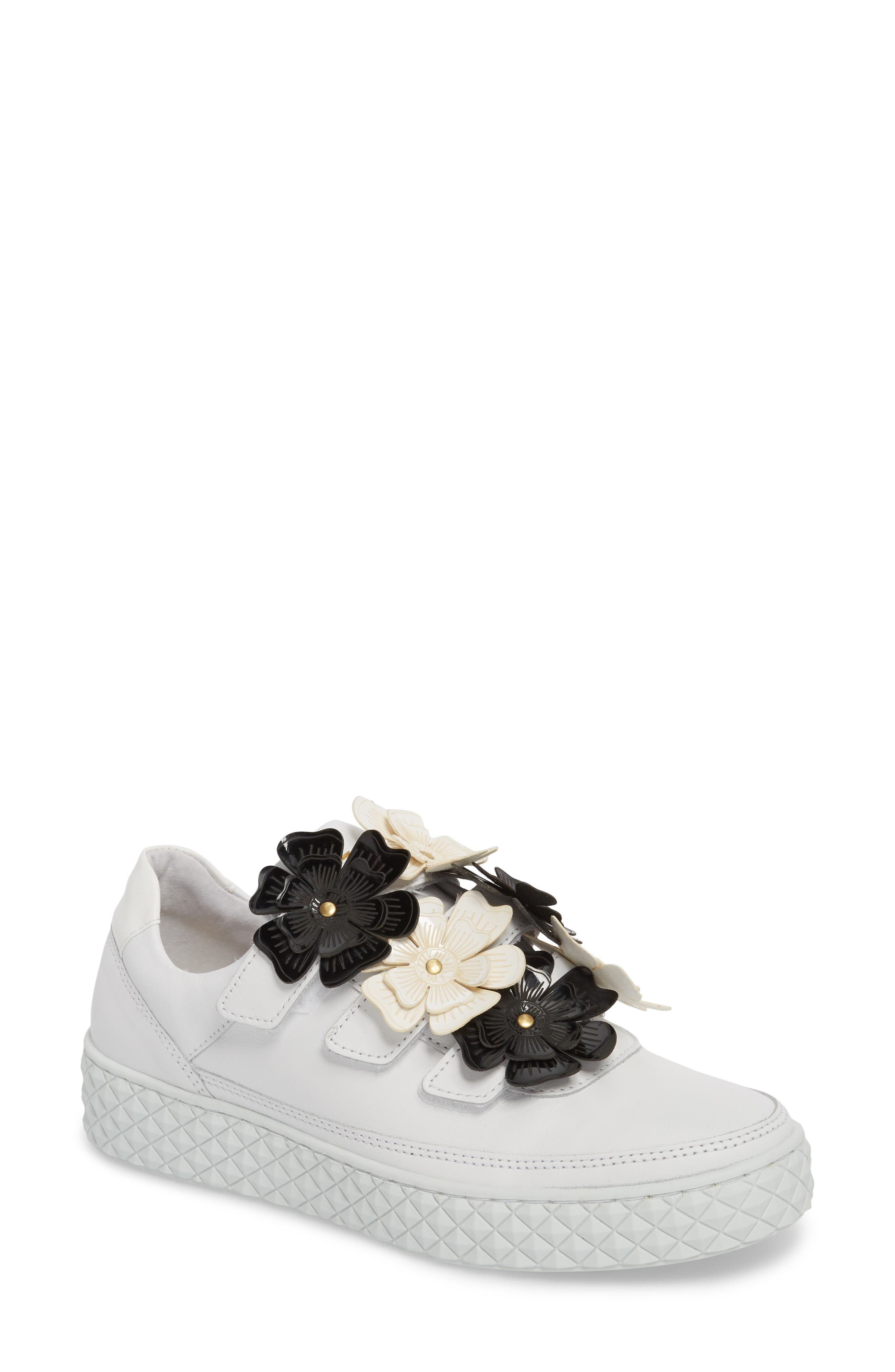 Hurou Embellished Sneaker,                         Main,                         color, Optic White/ Black Leather