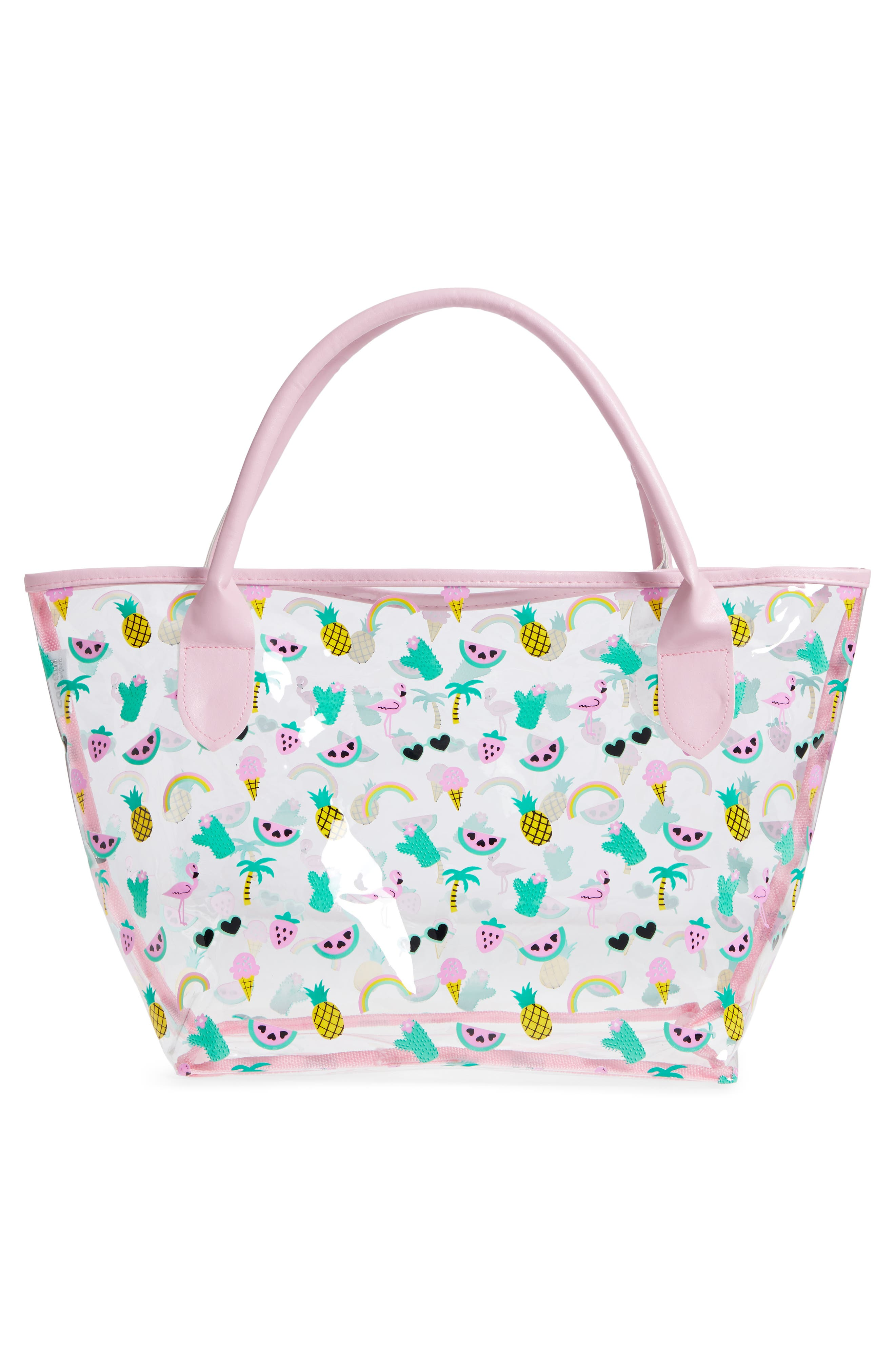 Alternate Image 2  - Capelli New York Summer Fun Emoji Transparent Tote (Girls)